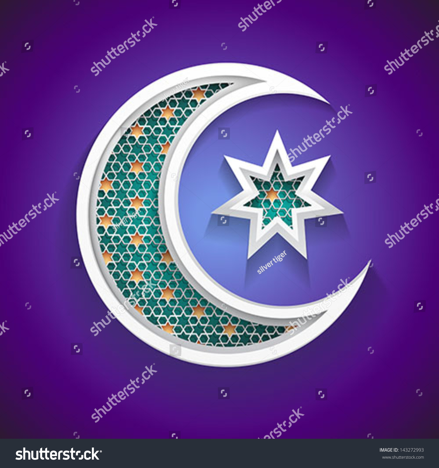 Islamic Background Ramadan 3d Crescent Moon Stock Vector