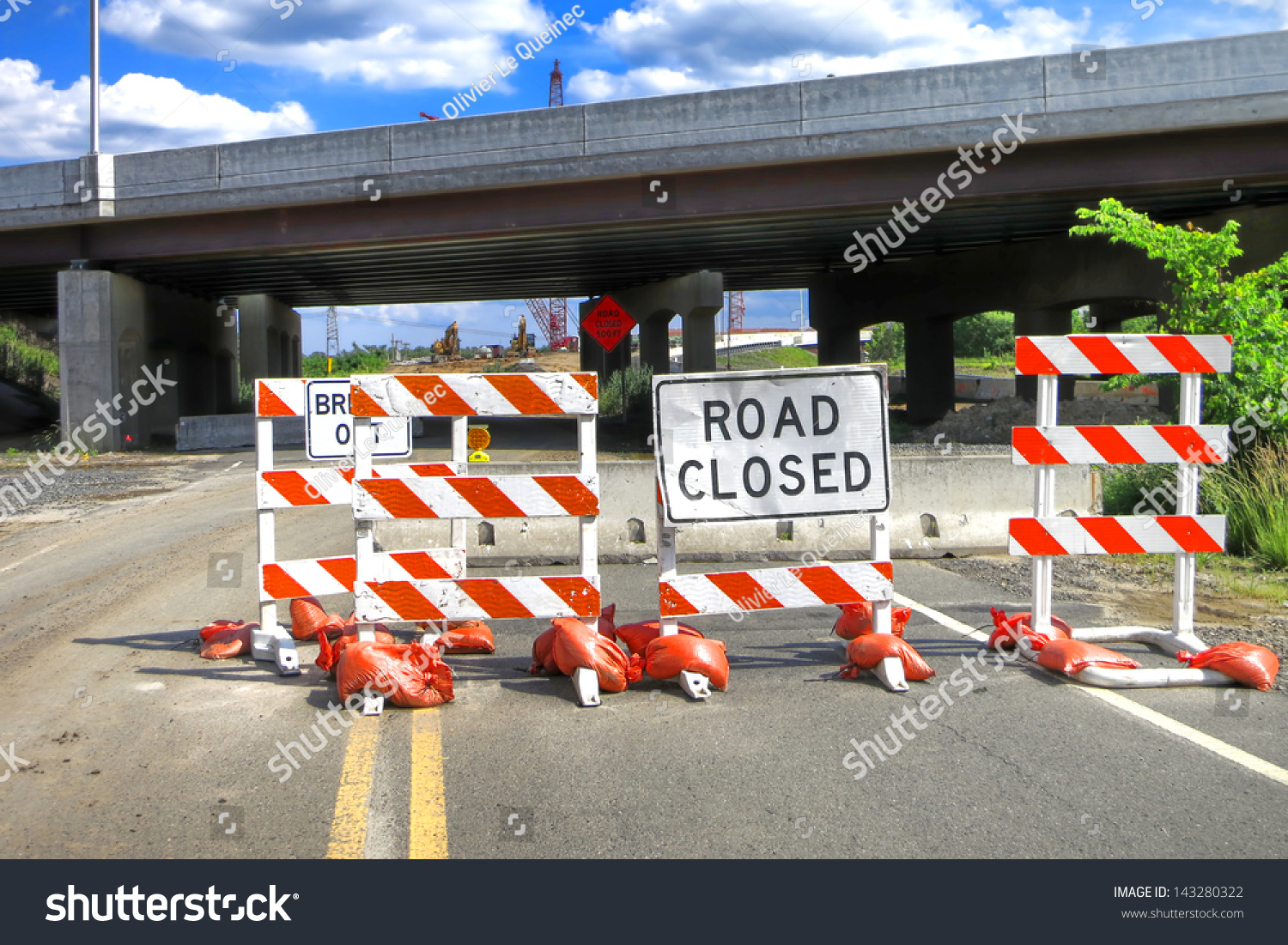Road closed warning safety sign on stock photo
