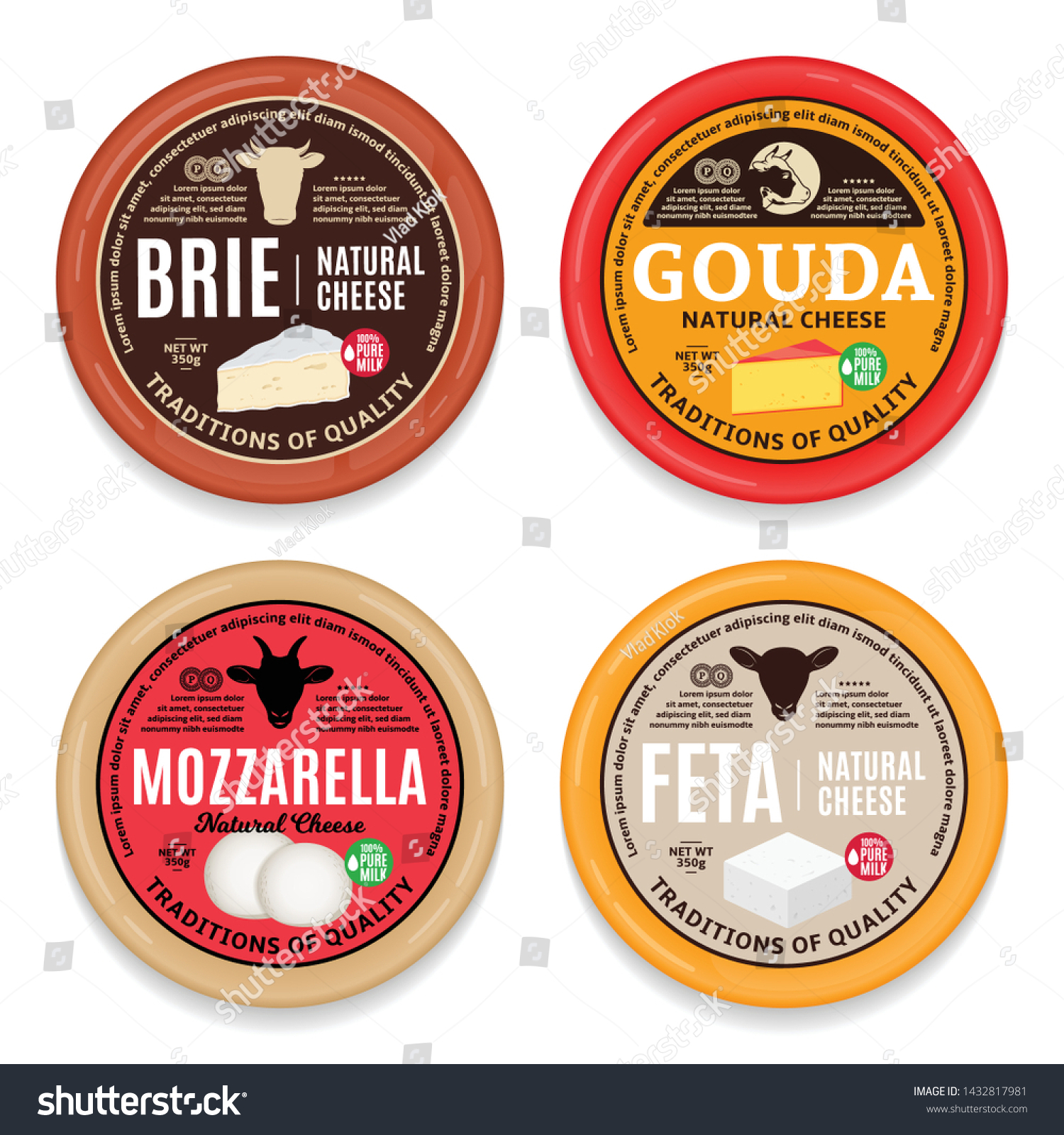 Vector Cheese Round Labels Packaging Design Stock Vector Royalty