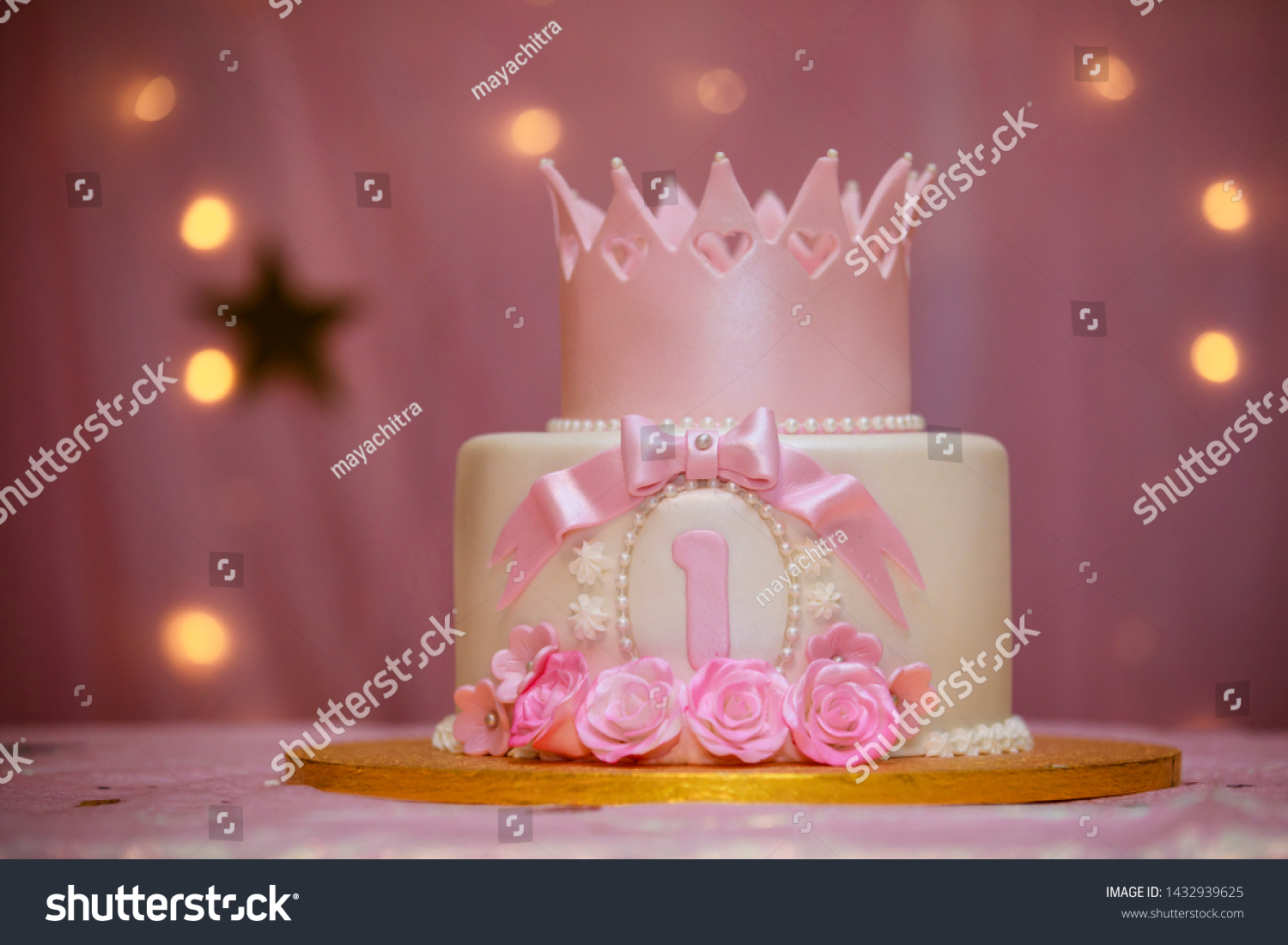 Stupendous First Birthday Cake Pink Colored One Stock Photo Edit Now 1432939625 Funny Birthday Cards Online Elaedamsfinfo