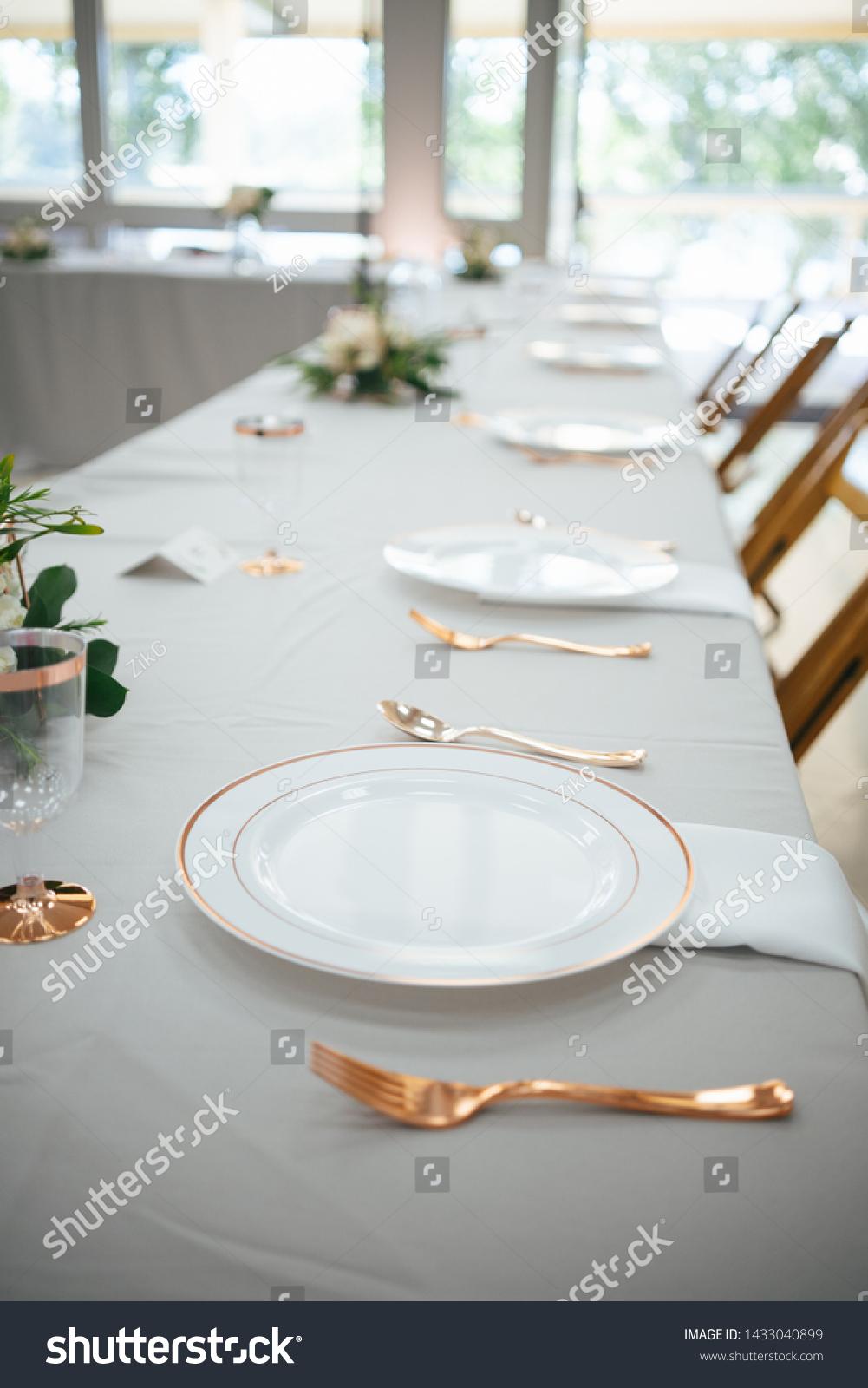 Wedding Bridal Party Table Setup Closeup Stock Photo Edit Now 1433040899