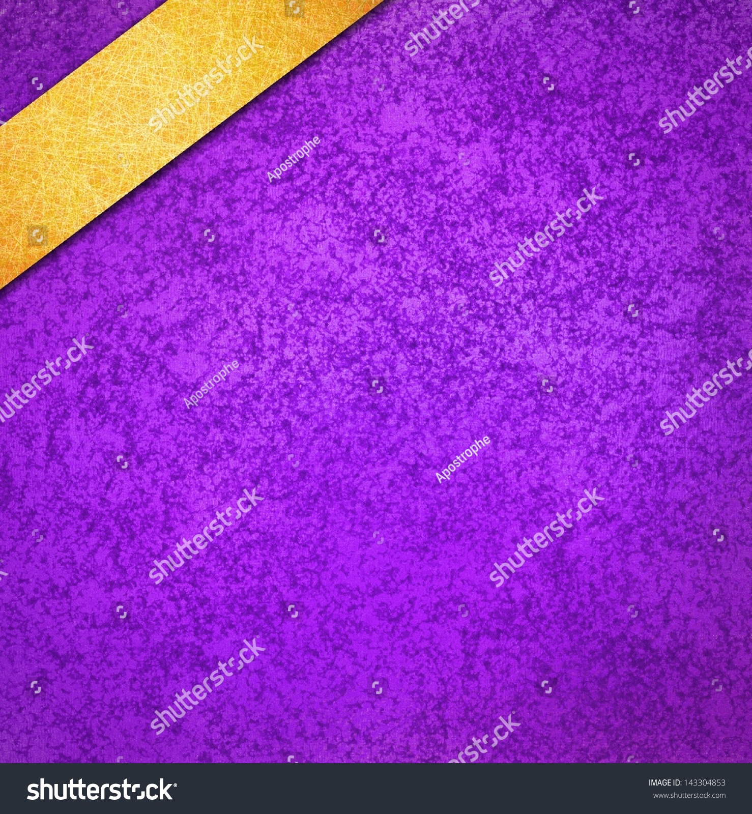 royal purple background gold ribbon angled stock