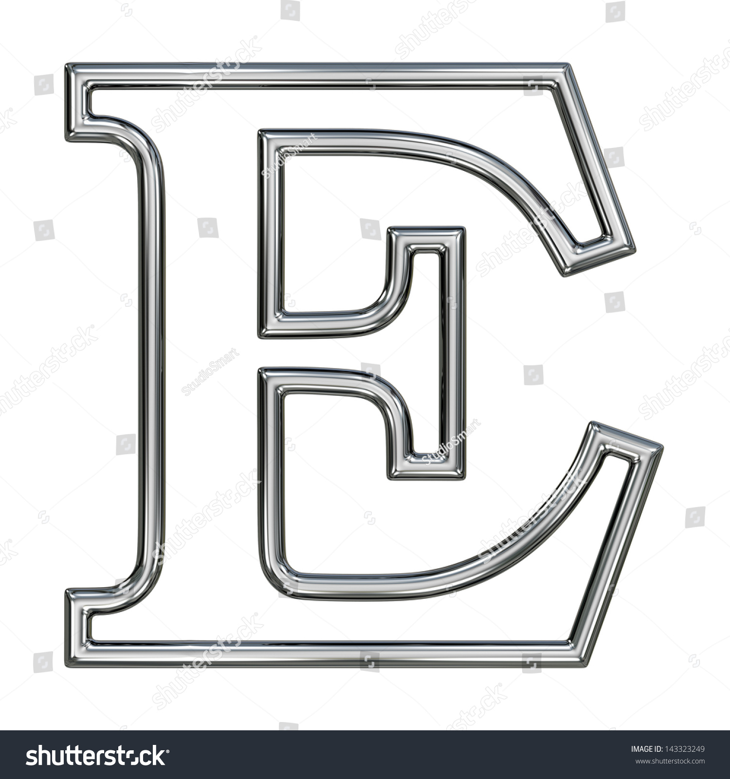 Royalty Free Stock Illustration of Alphabet Symbol E Chrome Pipe