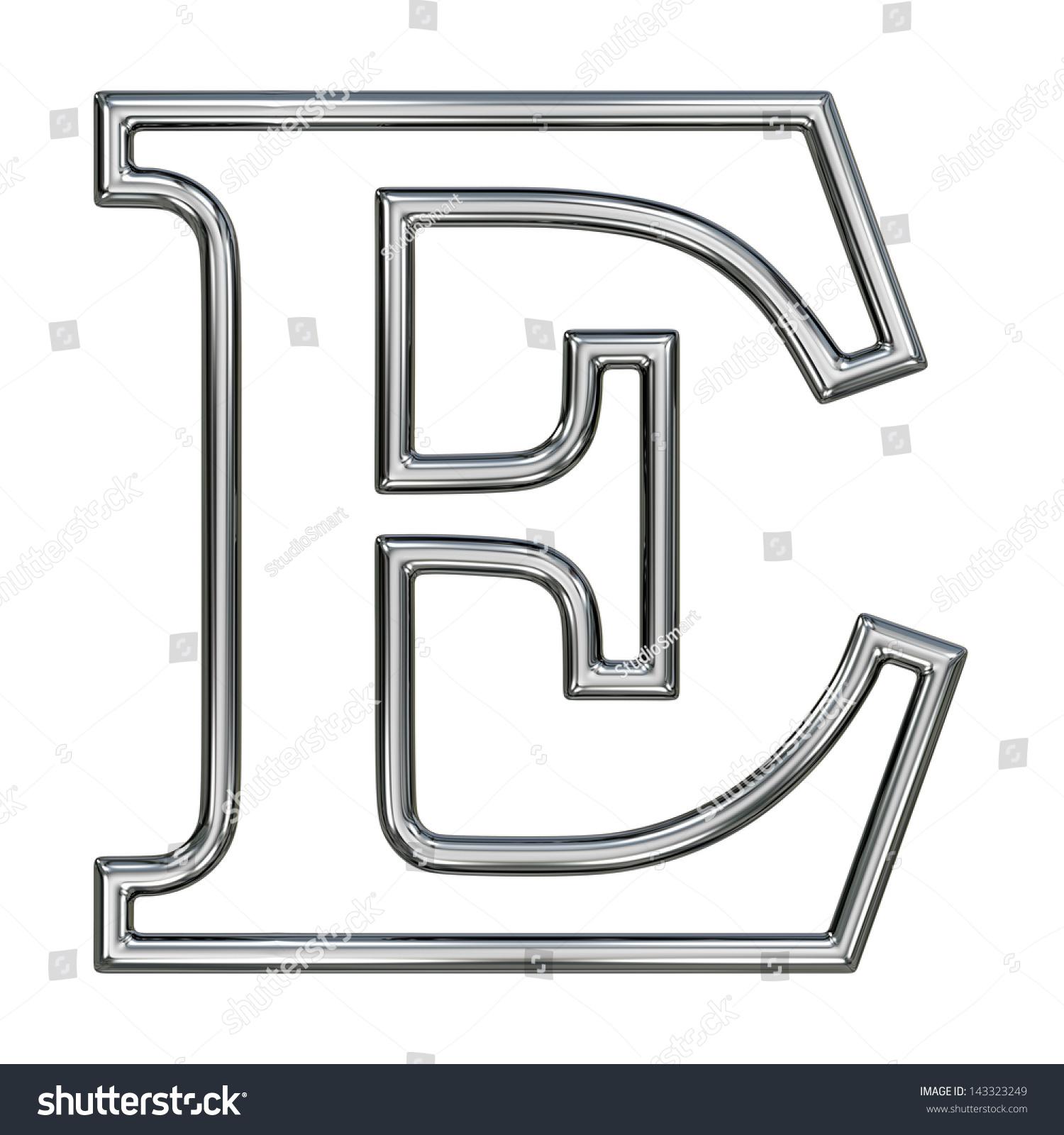 Royalty Free Stock Illustration of Alphabet Symbol E Chrome Pipe