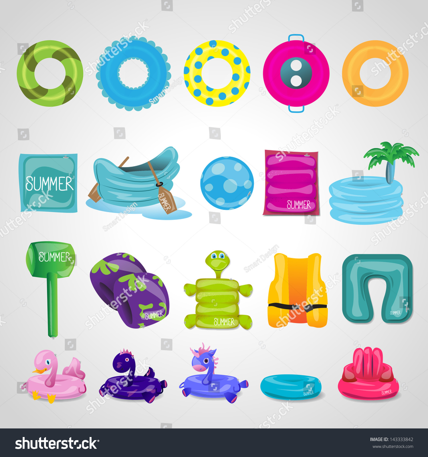 Inflatable Round Tube Icons Set Isolated Stock Vector