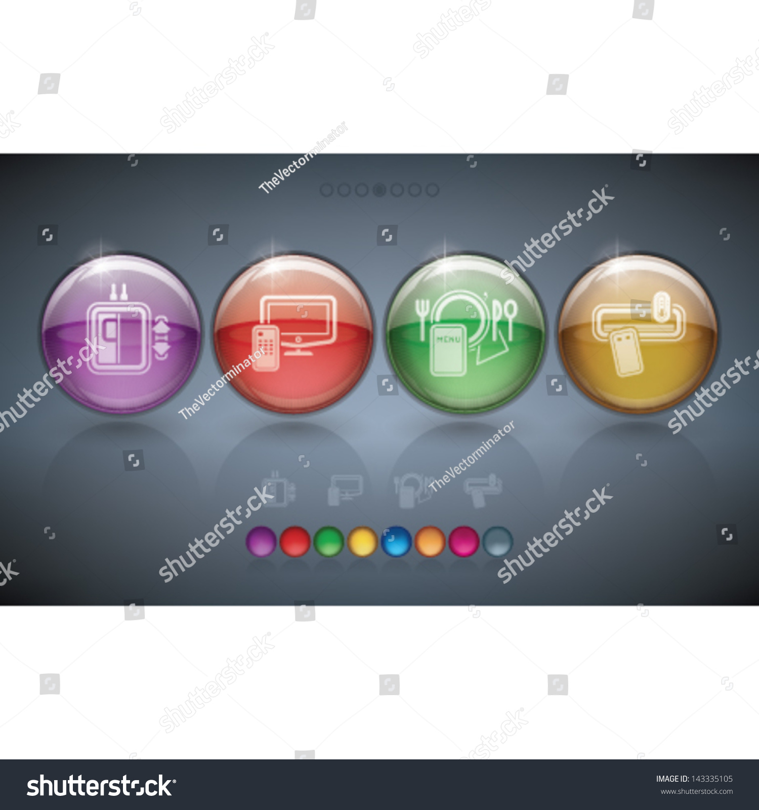 Various Hotel Stuff Hotel Services Icons Stock Vector
