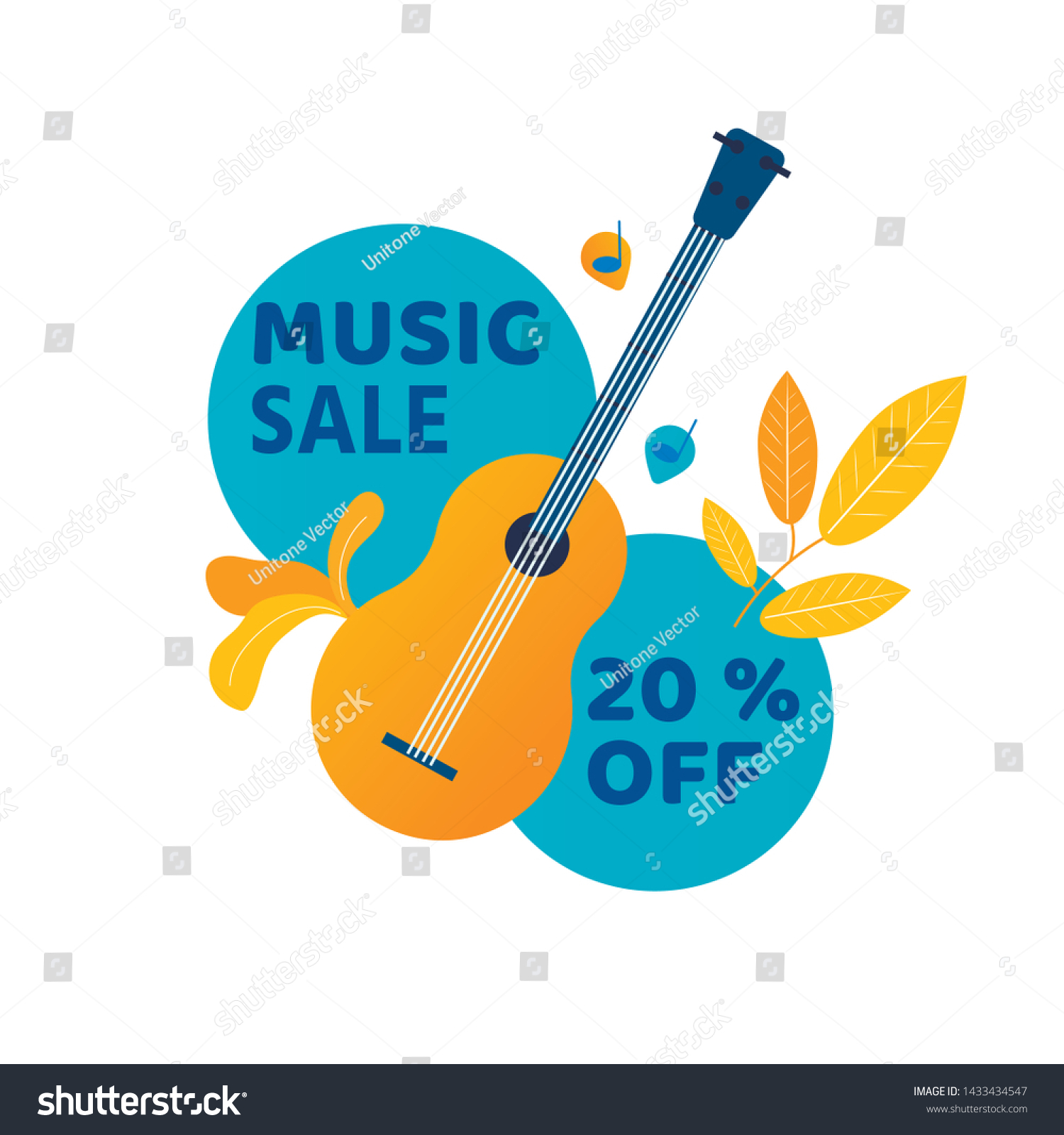 Music Sale Banner Guitar Leaves Typography Stock Vector Royalty Free 1433434547