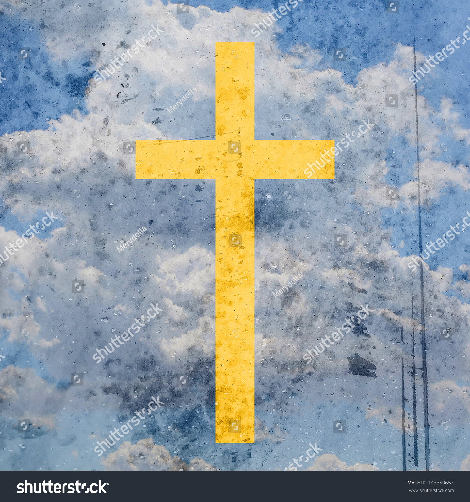 Cross On Abstract Grunge Background Stock Illustration