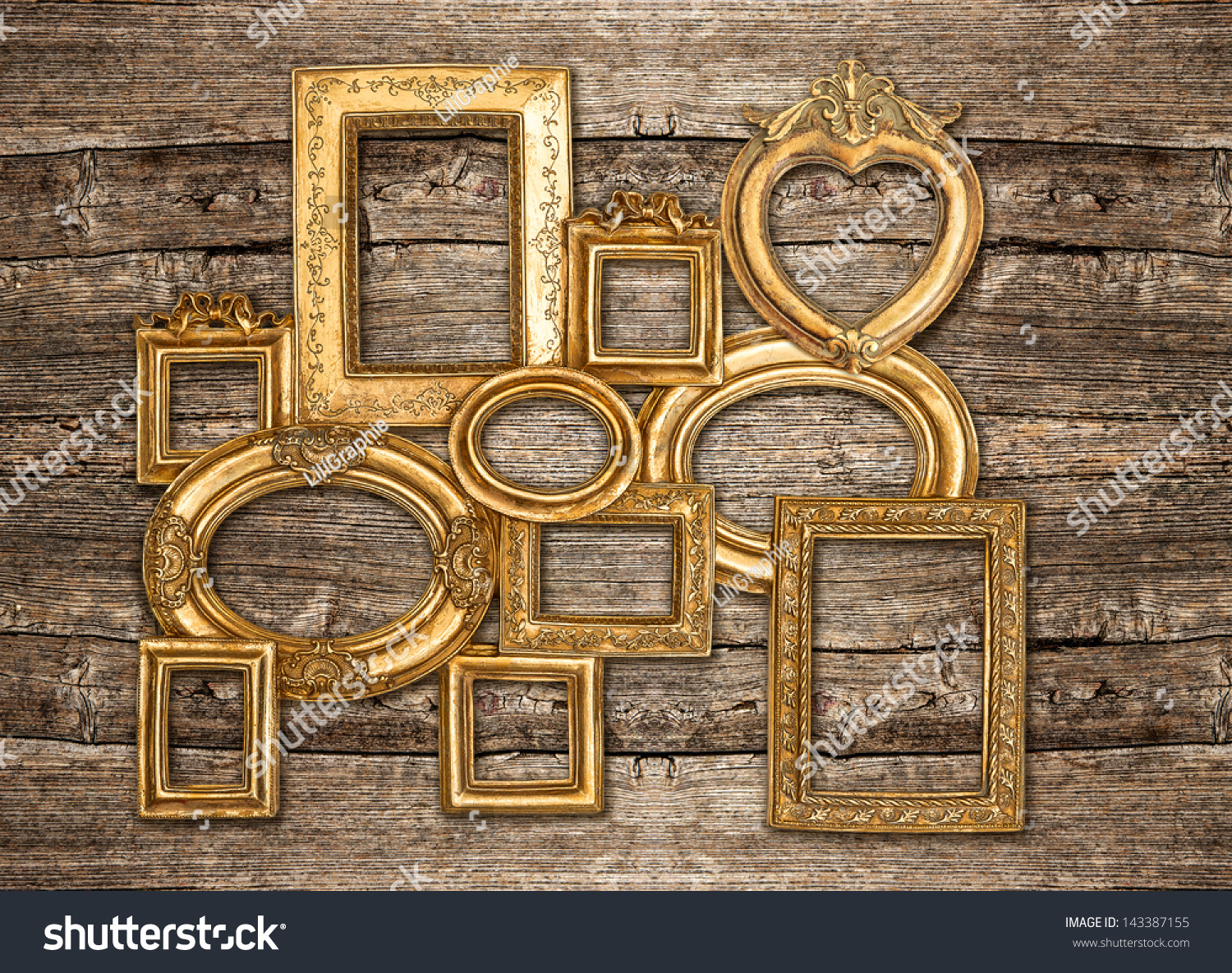 Antique Golden Framework Rustic Wooden Wall Stock Photo