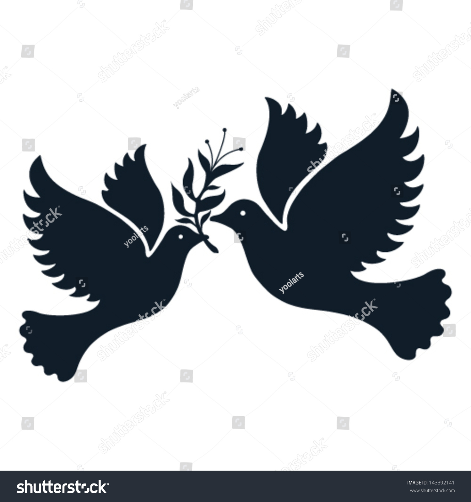 A Free Flying Vector White Dove Symbol. - 143392141 ...