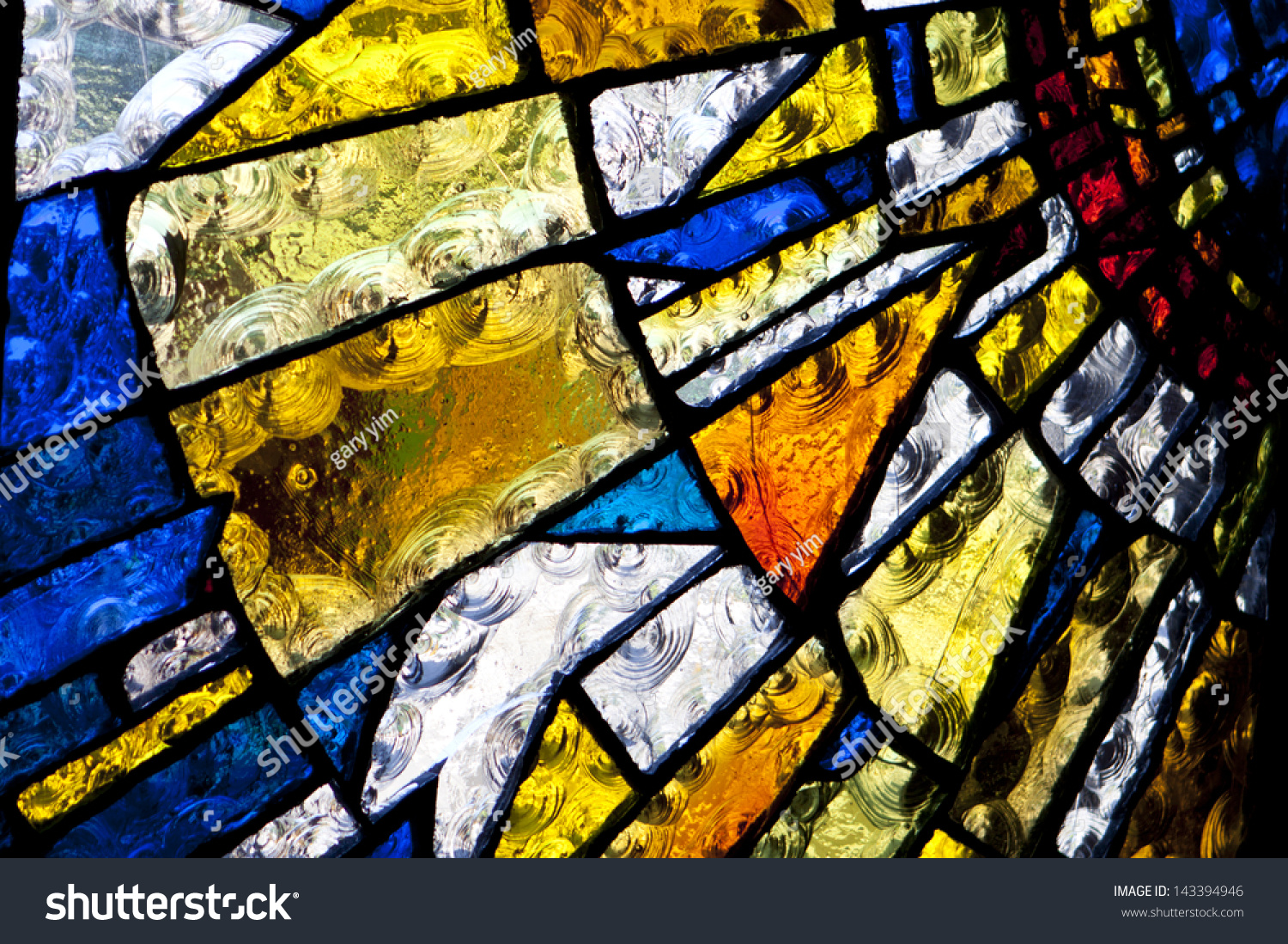 Multicolored Stained Glass Church Window Portrait Stock