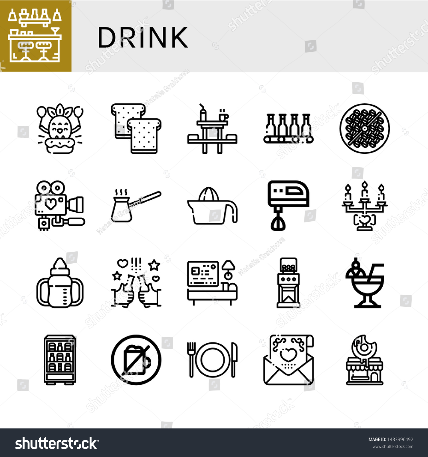 Set Drink Icons Such Bar Birthday Stock Vector Royalty Free 1433996492