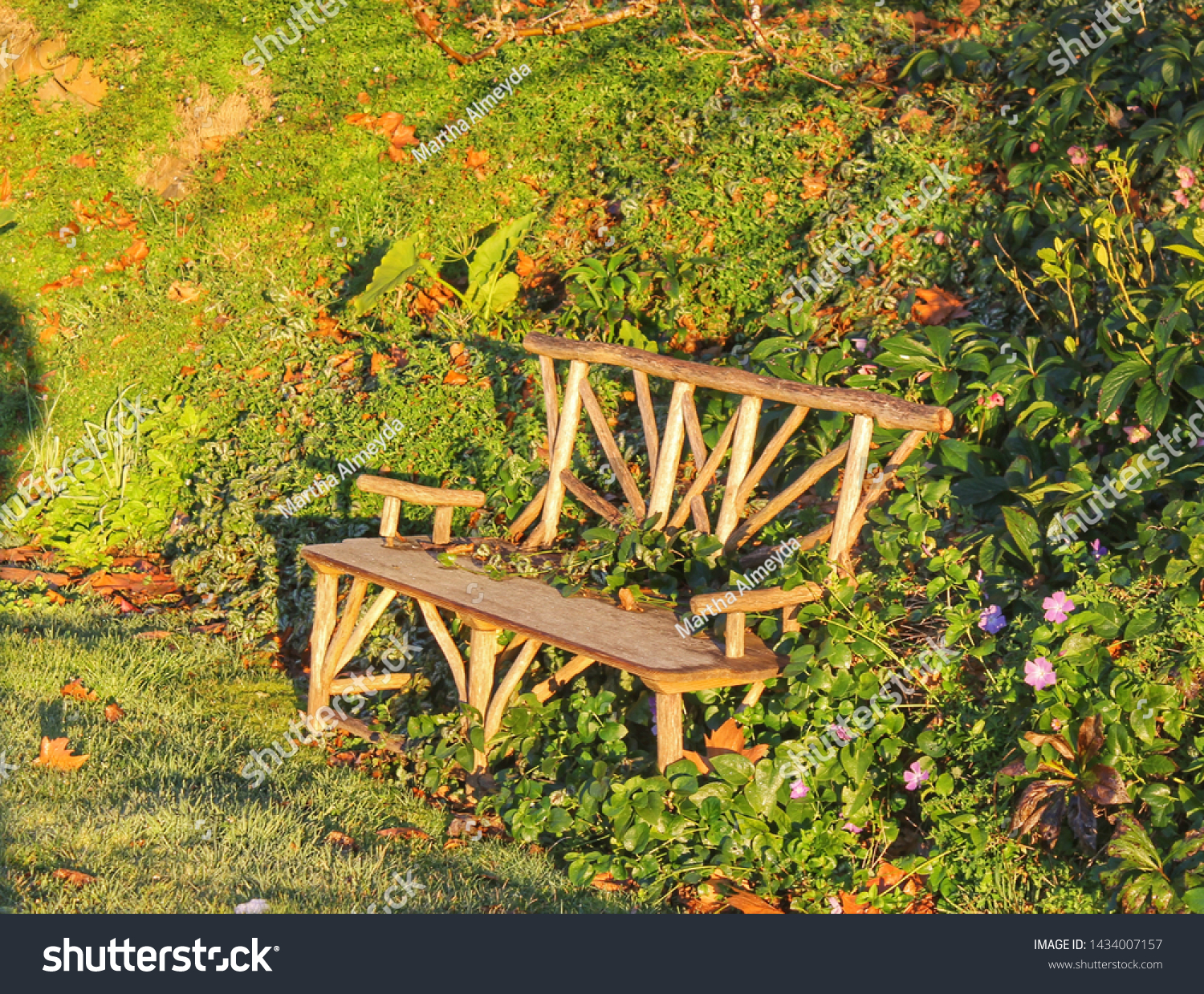Rustic Wood Bench Green Country Area Stock Photo Edit Now 1434007157