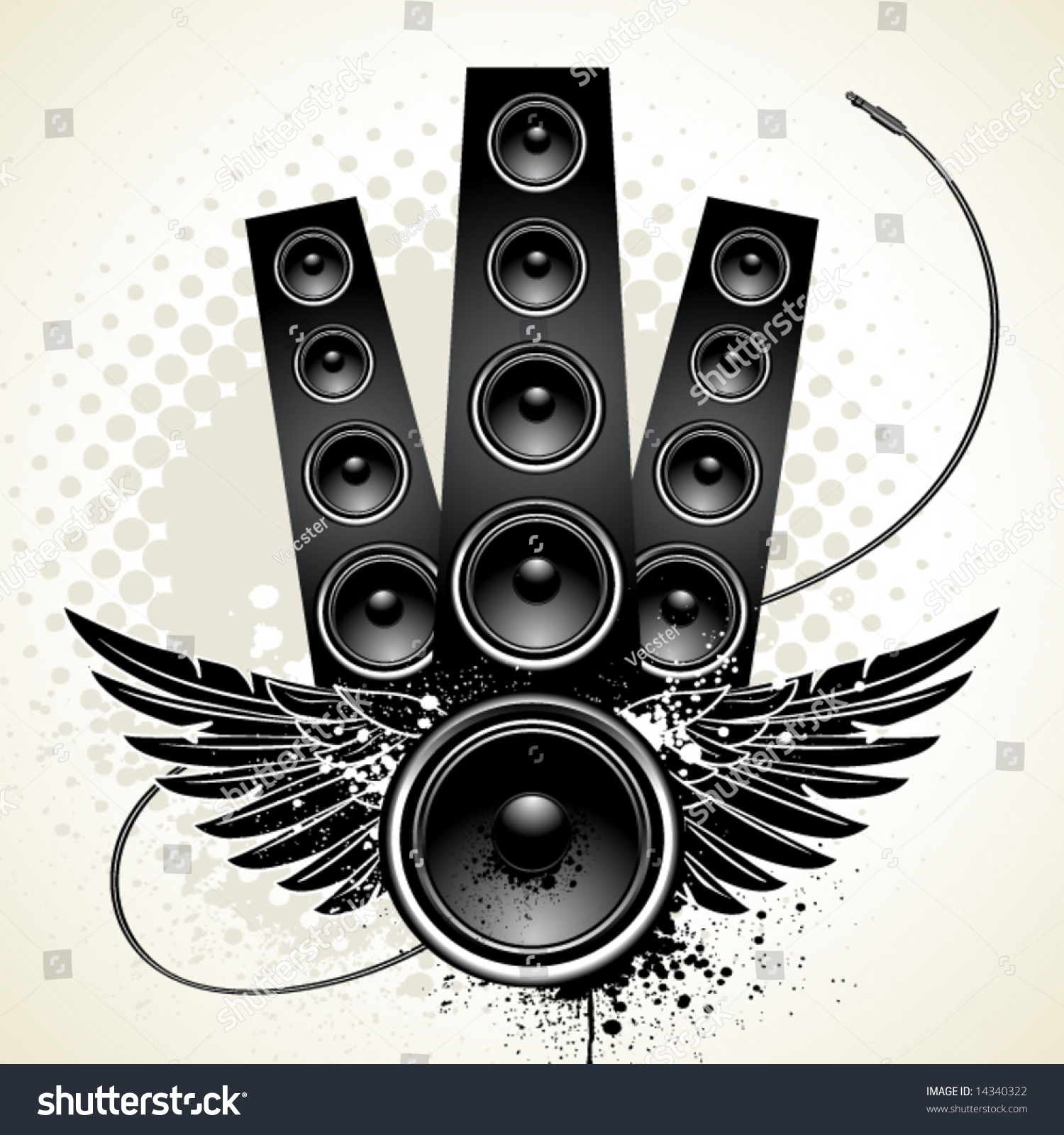 Speakers Wings Wire On Grunge Background Stock Vector