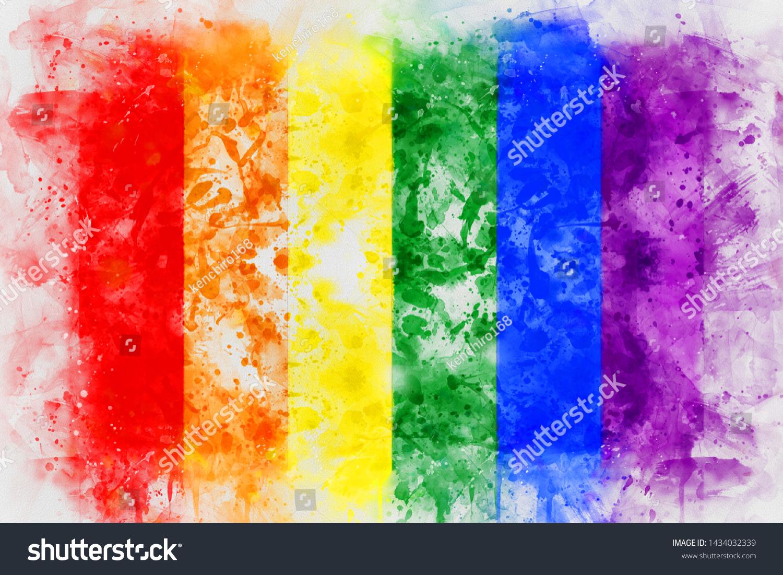 Rainbow LGBT flag digital painting. watercolor painting on white background,digital art style, illustration painting