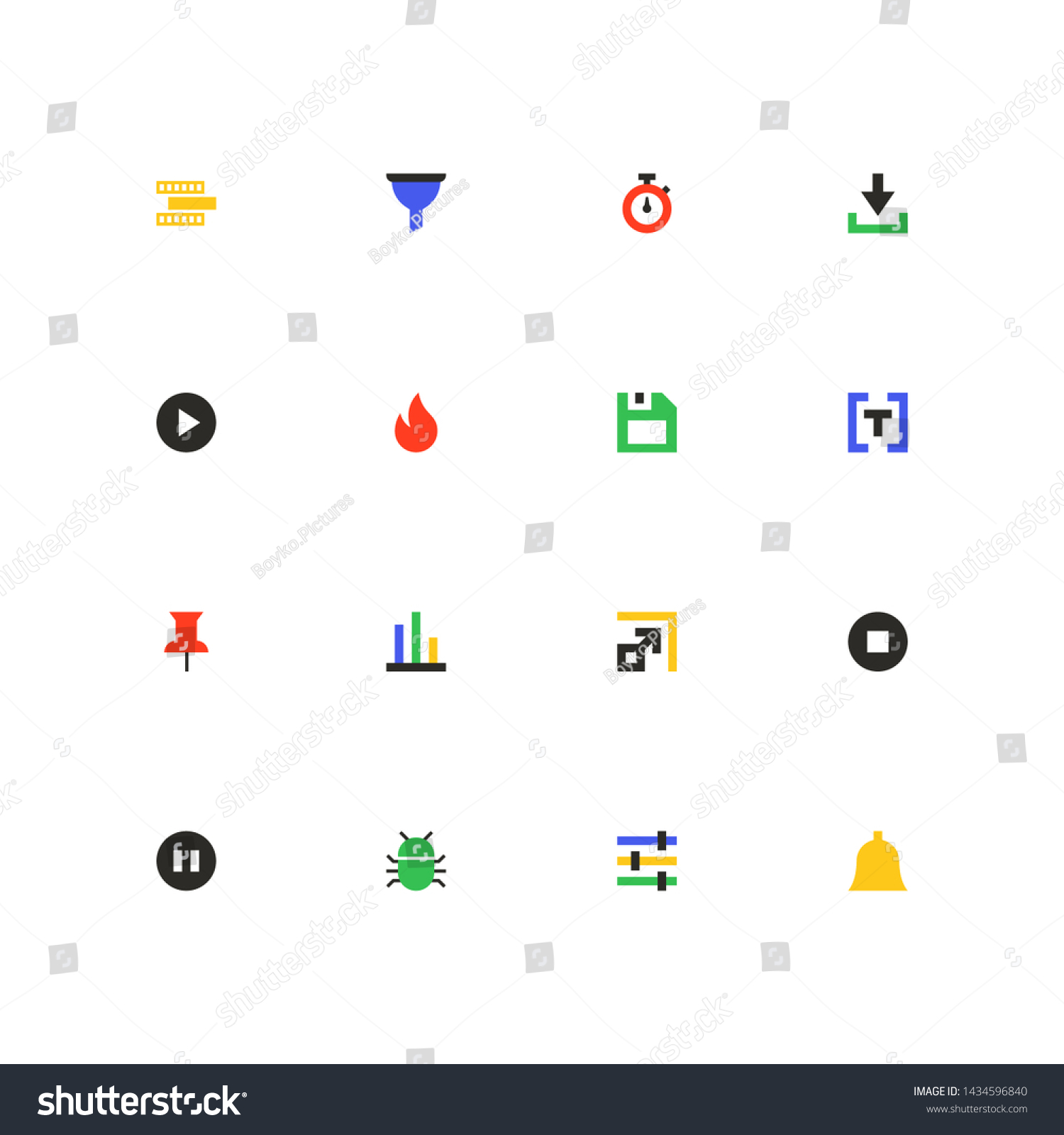 Business Protection Colorful Material Design Icons Stock