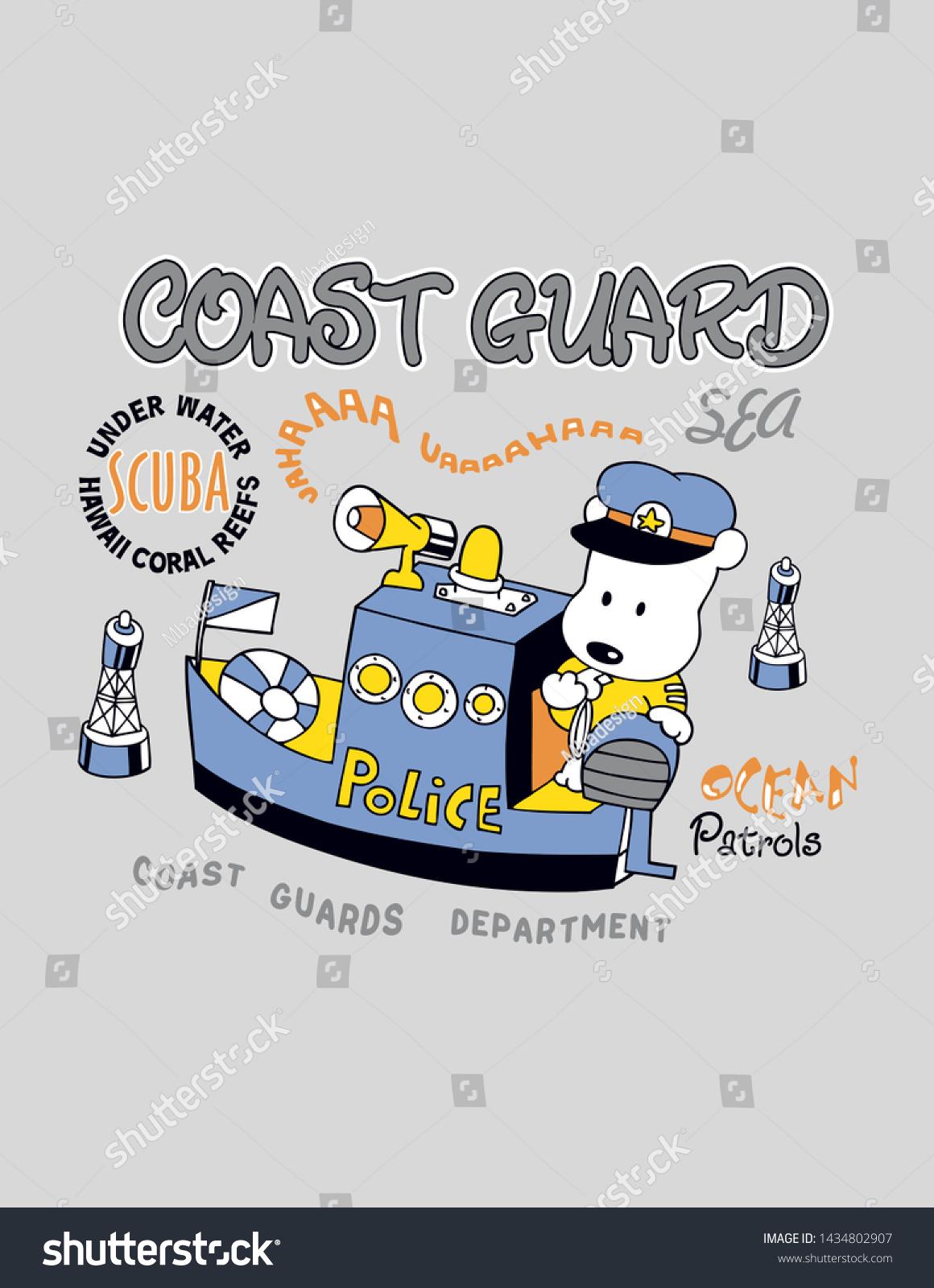 Coast Cartoon Dog Police Design Print Stock Vector Royalty Free