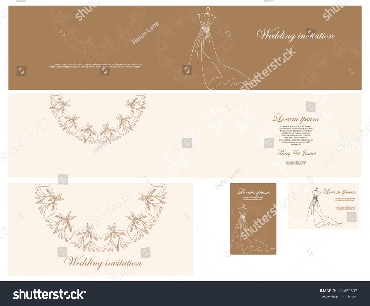 Set wedding invitation business cards gentle stock vector set of wedding invitation business cards in gentle tones of gold decorated with magicingreecefo Choice Image