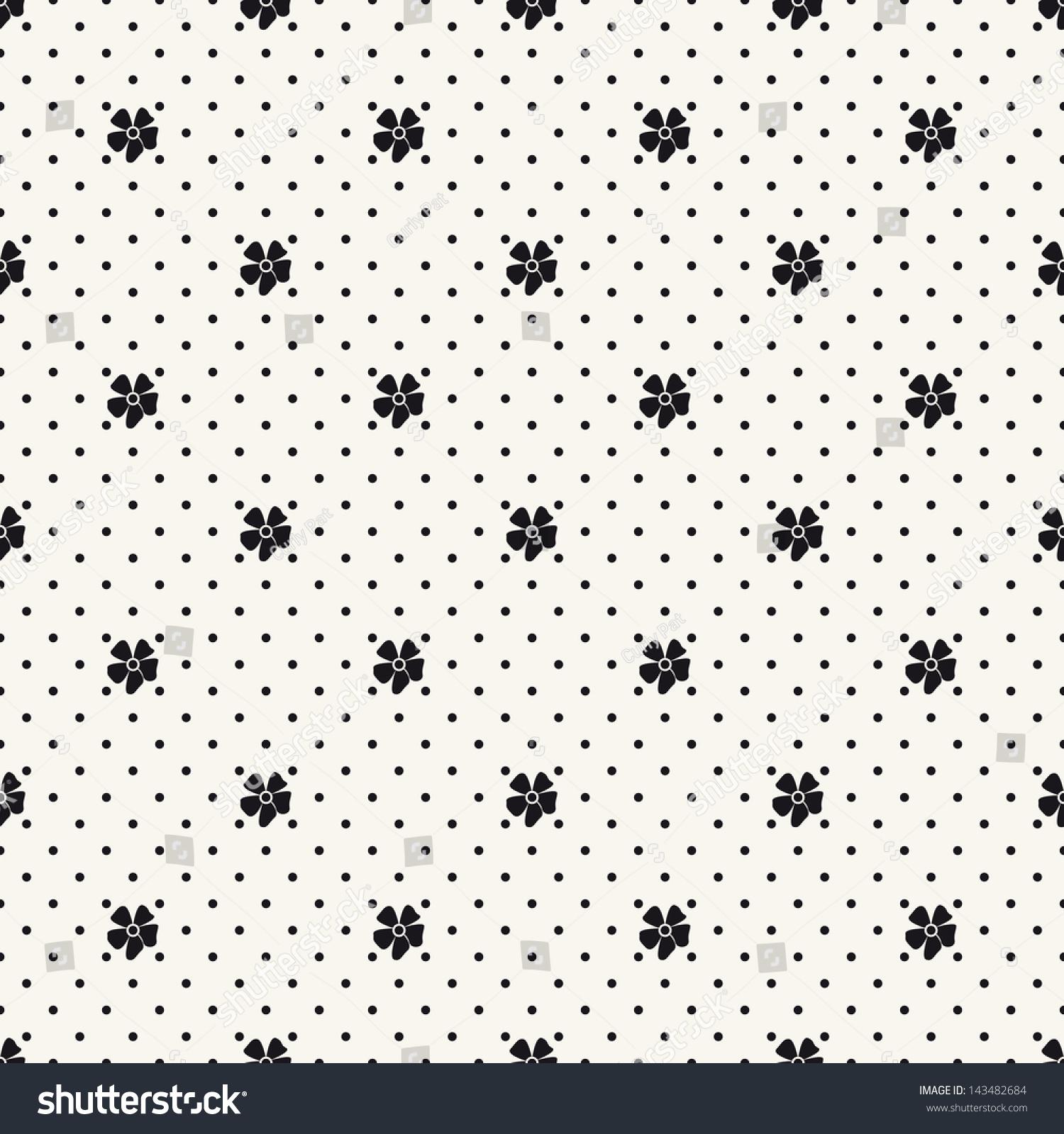 seamless pattern flowers polka dot print stock vector