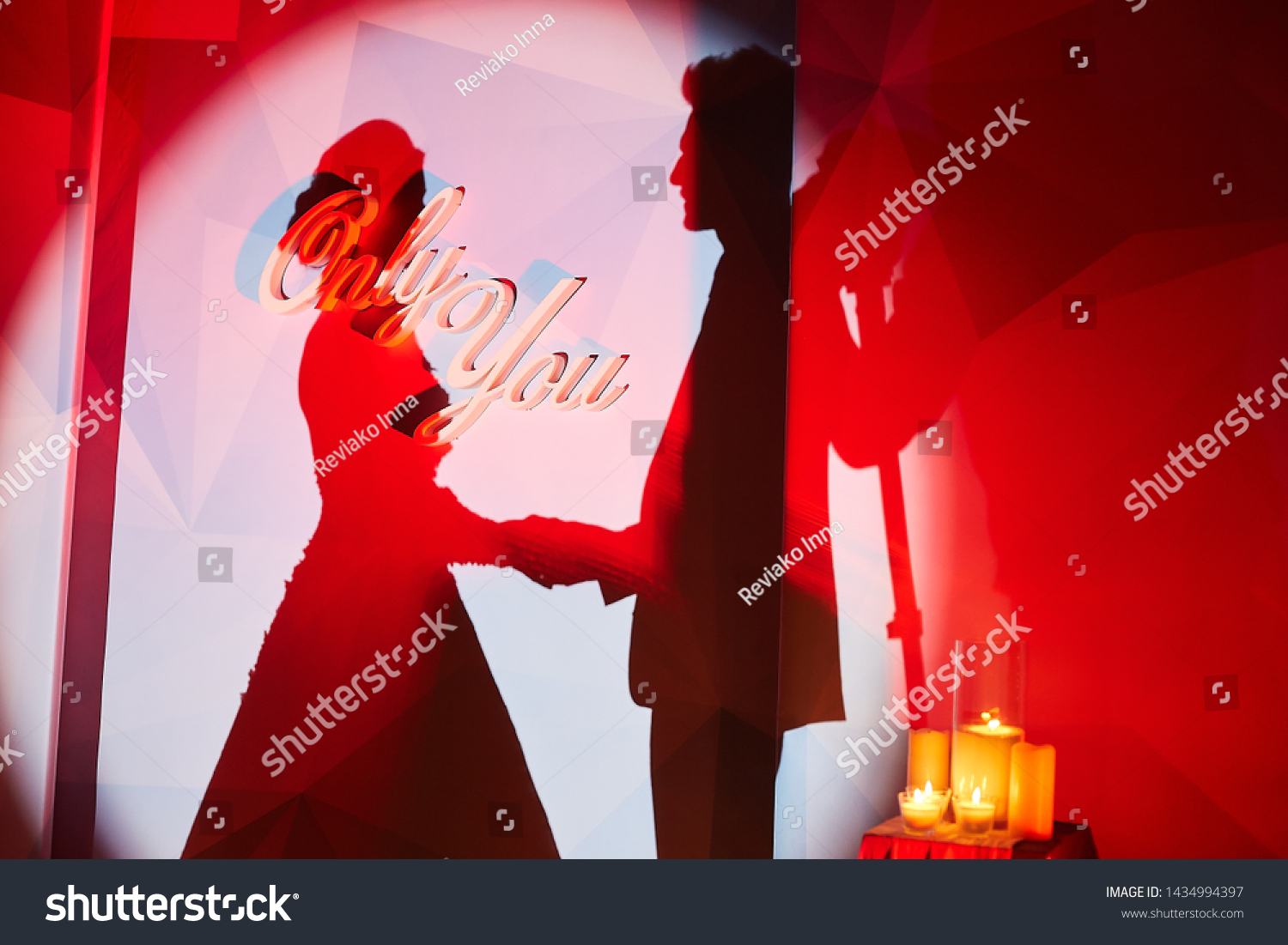 Silhouette Just Married Couple On Wall Stock Photo Edit Now