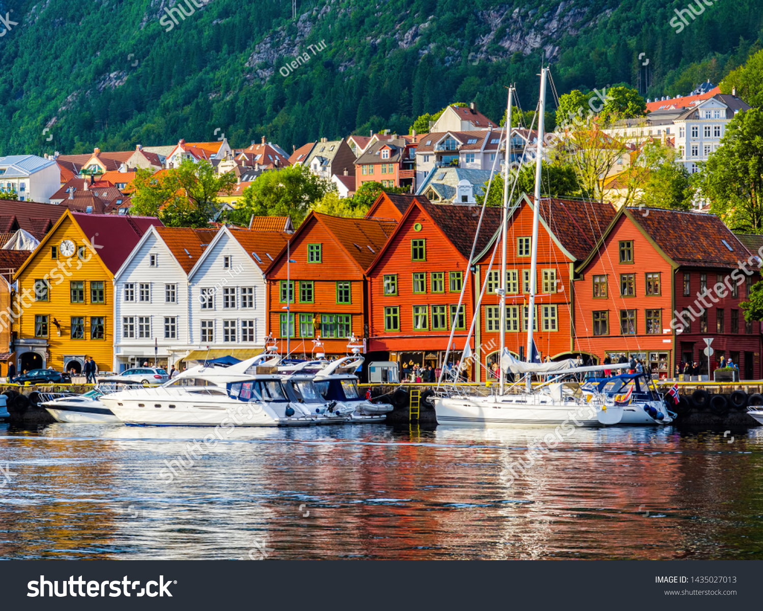 Bergen, Norway. View of historical buildings in Bryggen- Hanseatic wharf in Bergen, Norway. UNESCO World Heritage Site #1435027013
