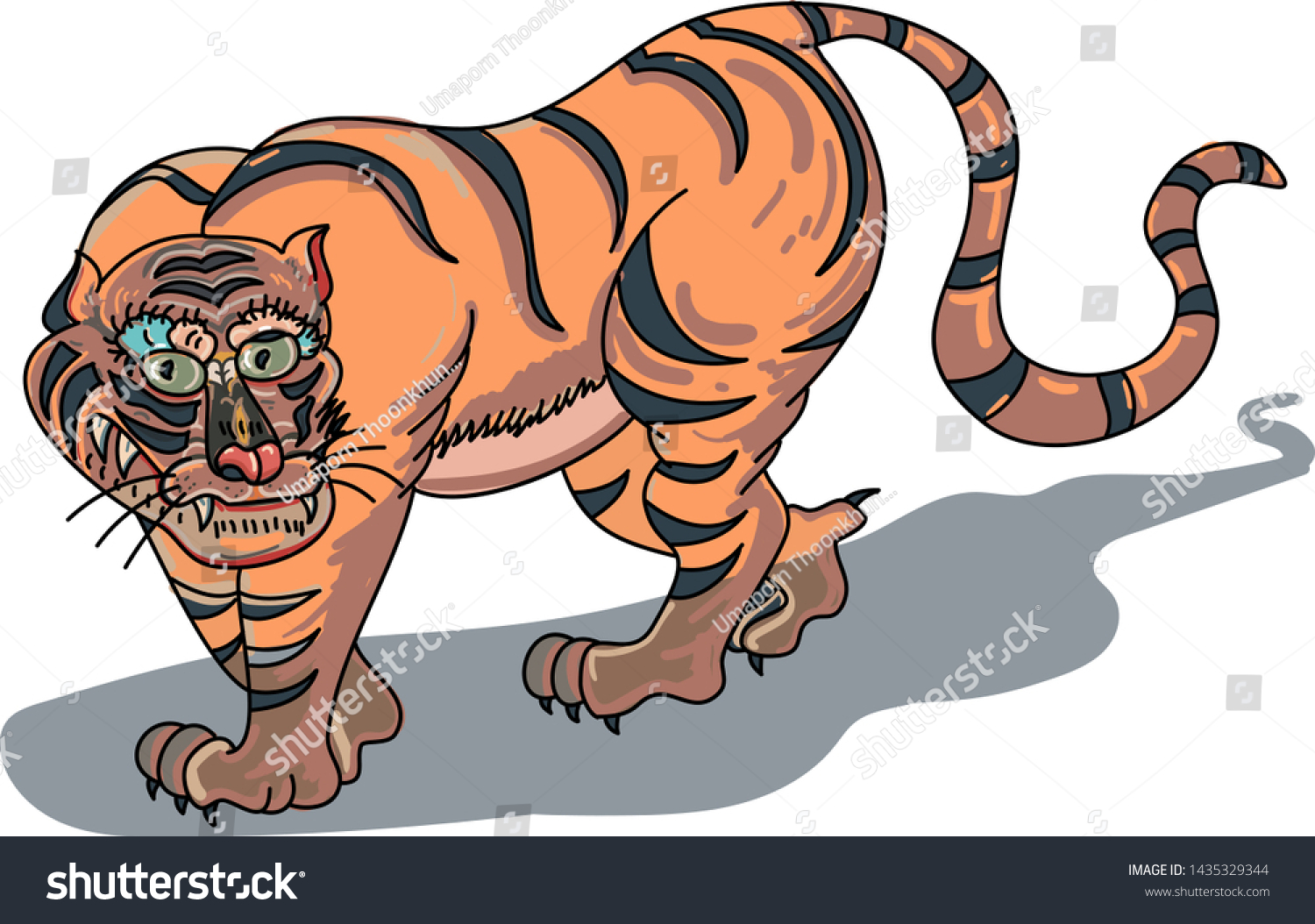 Japanese Tiger On Backgroundtraditional Tiger Art Stock Vector Royalty Free 1435329344