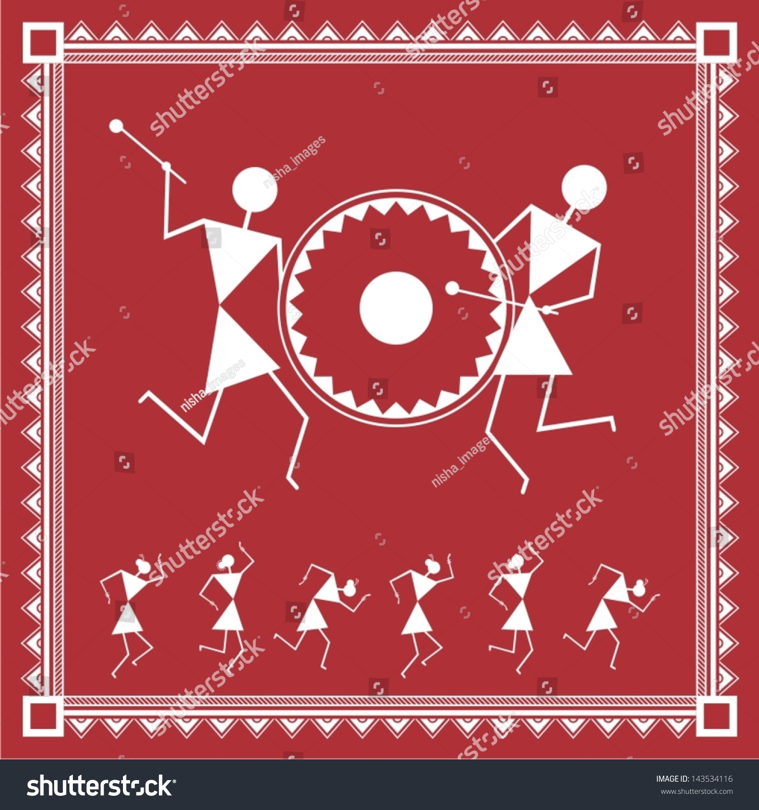 Indian Tribal Painting Warli Painting Stock Vector