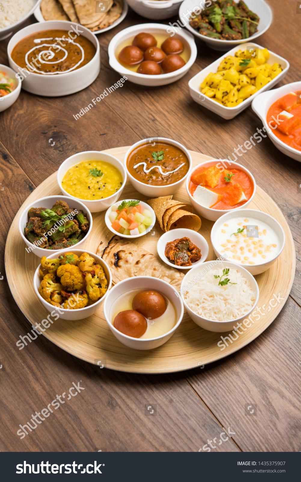 Indian Food Platter Hindu Veg Thali Stock Photo Edit Now 1435375907