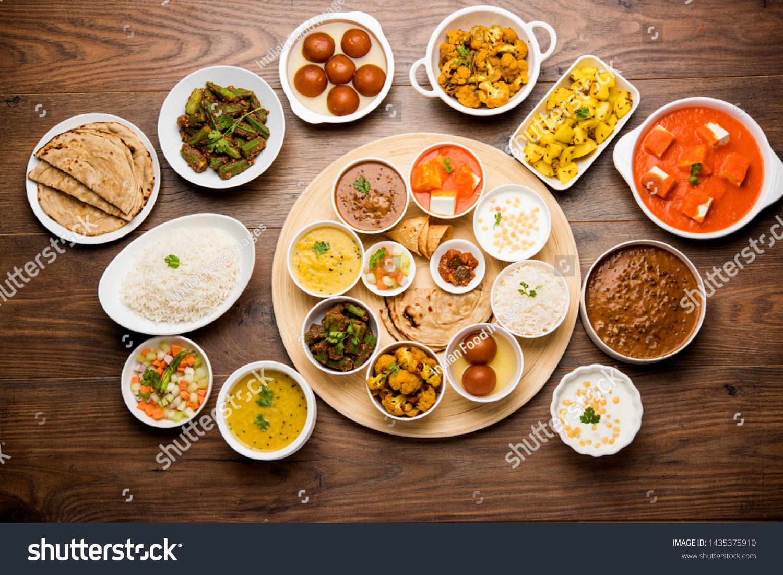 Indian Food Platter Hindu Veg Thali Stock Photo Edit Now 1435375910