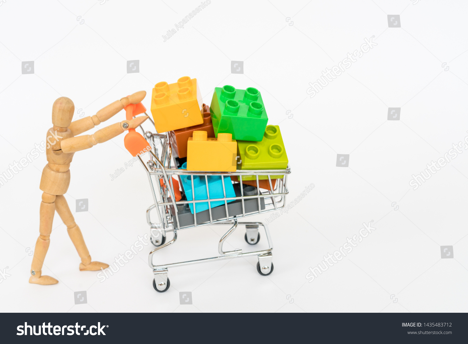 Wooden Mannequin Carries Shopping Cart Lego Stock Photo Edit Now 1435483712