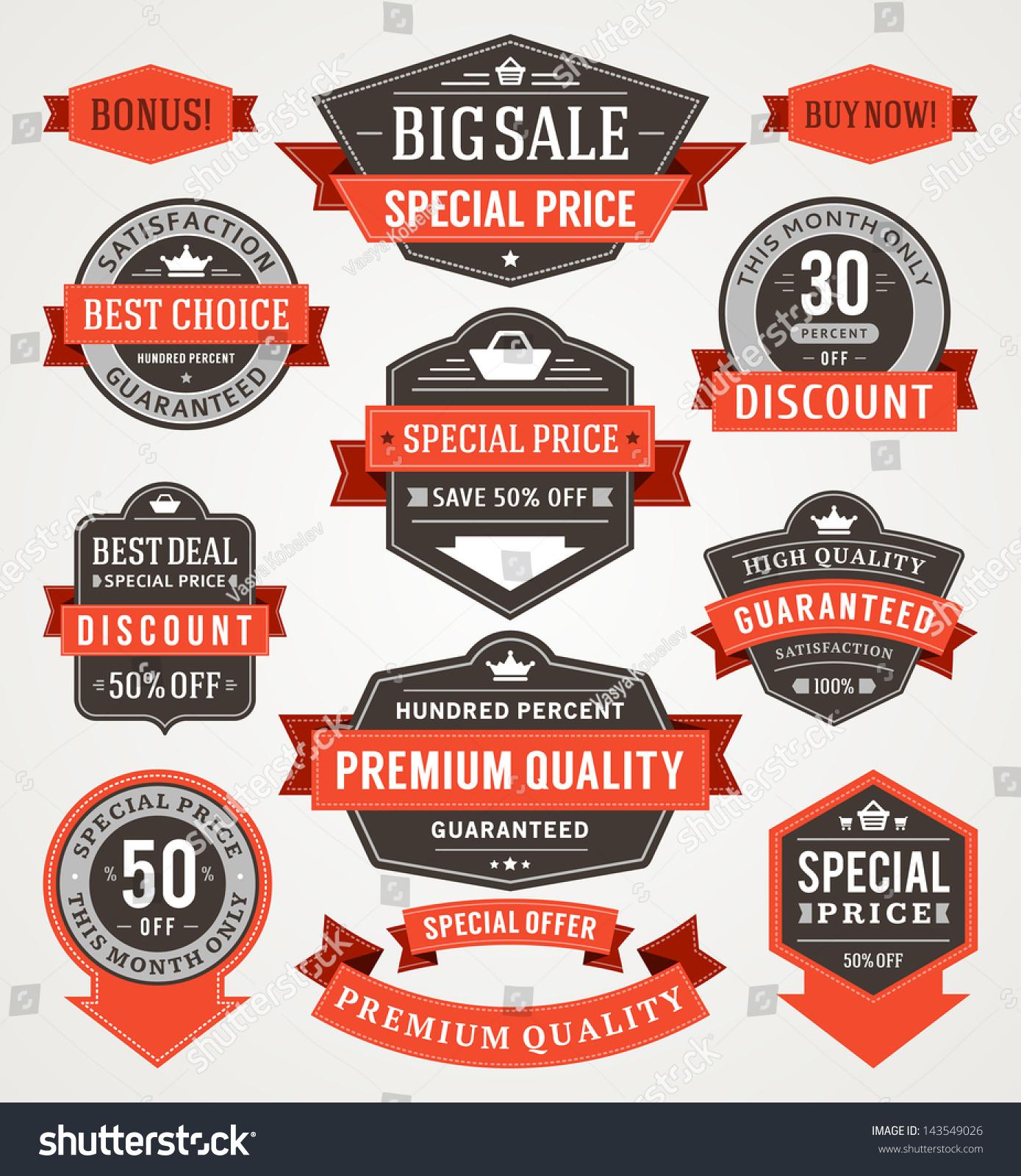 Premium Pricing: Vector Vintage Sale Labels Ribbons Set Stock Vector