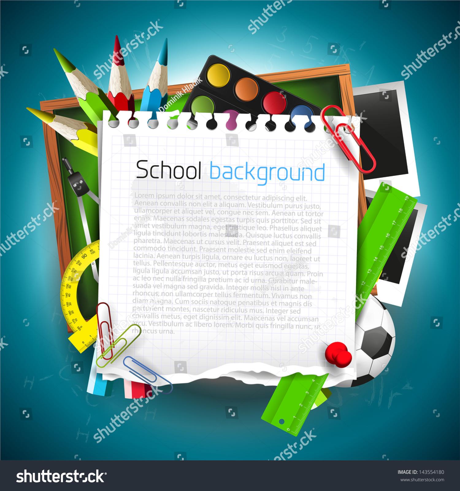 Modern Classroom Supplies ~ Modern school background supplies empty stock