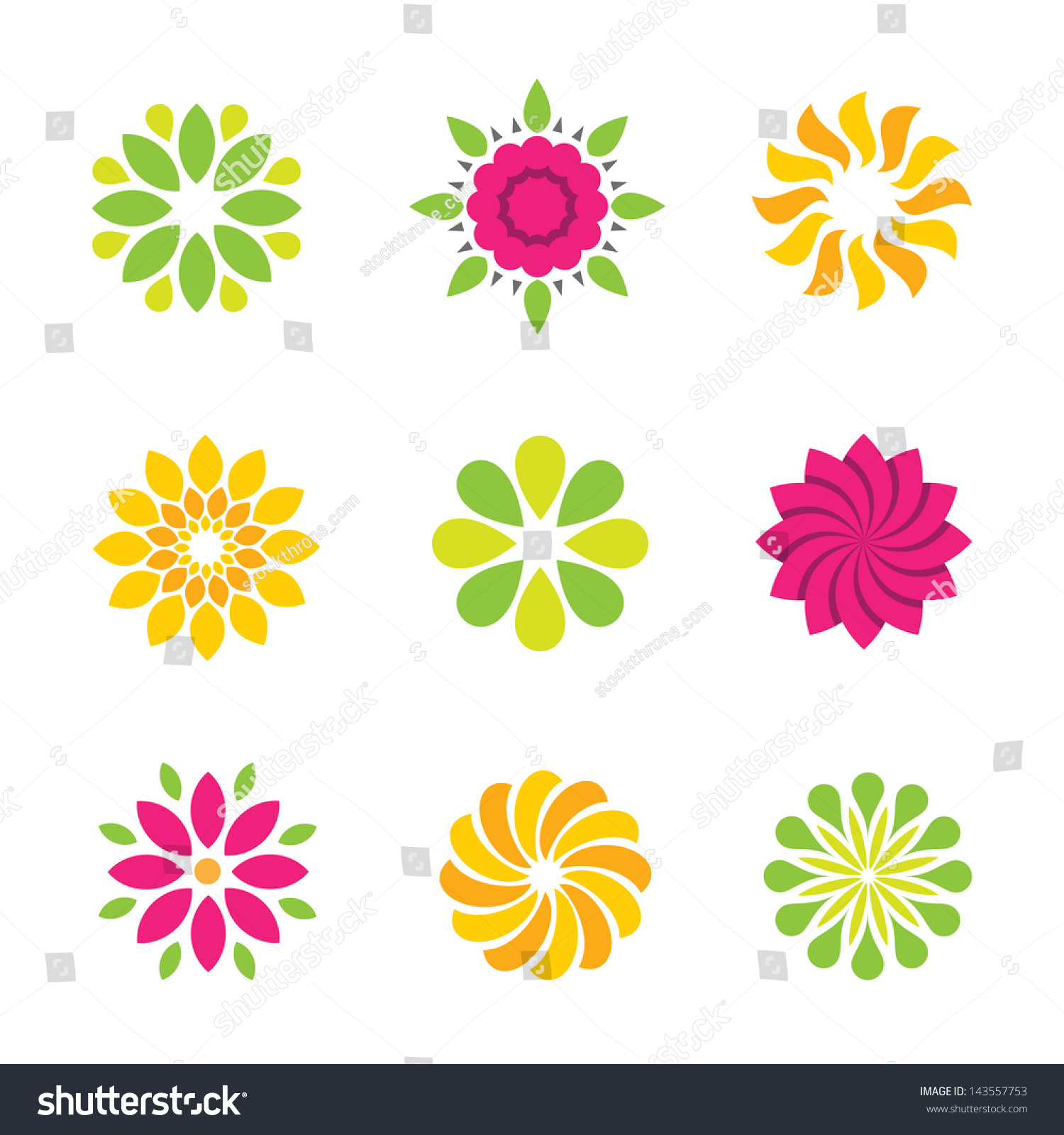 Flowers Nature Logo Symbol Icons Colorful Stock Vector Shutterstock