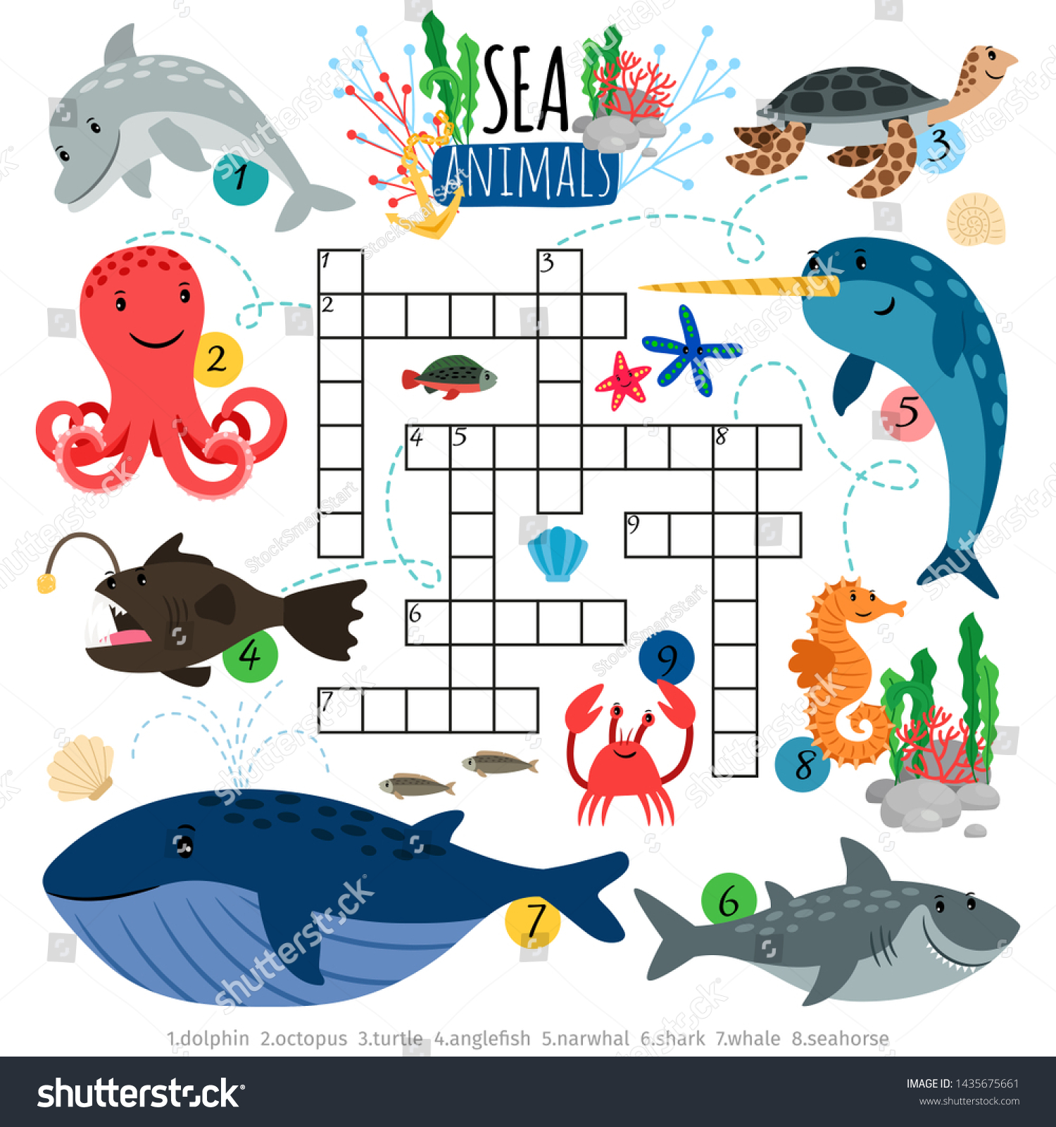 Sea Crossword Ocean Animals Crosswords Game Stock Illustration 1435675661