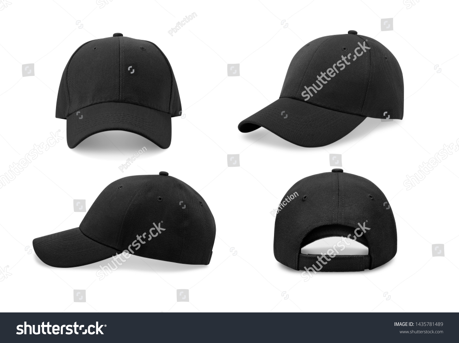 Black baseball cap in four different angles views. Mock up.  #1435781489