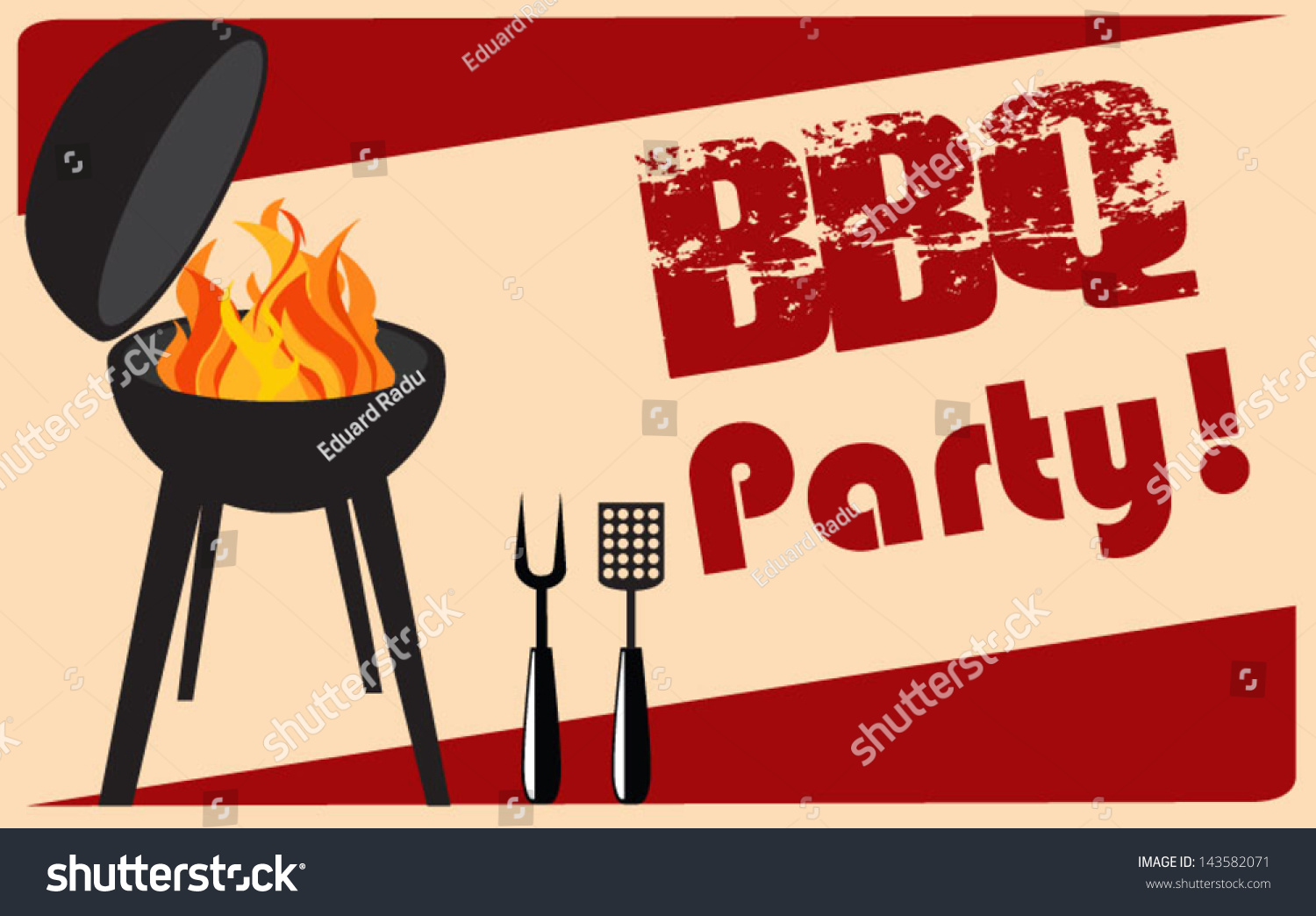 Vintage Bbq Grill Party Stock Vector 143582071 Shutterstock