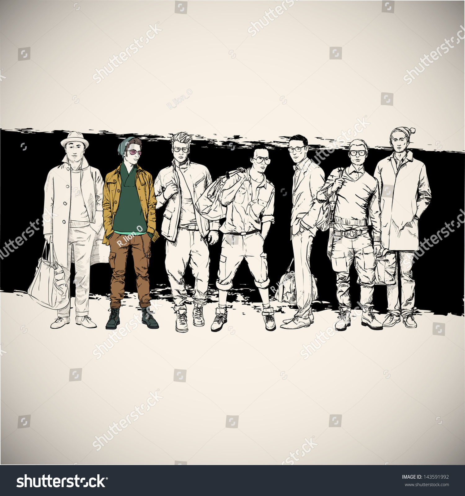 Cool Poster Stylish Guys Vector Illustration Stock Vector ...