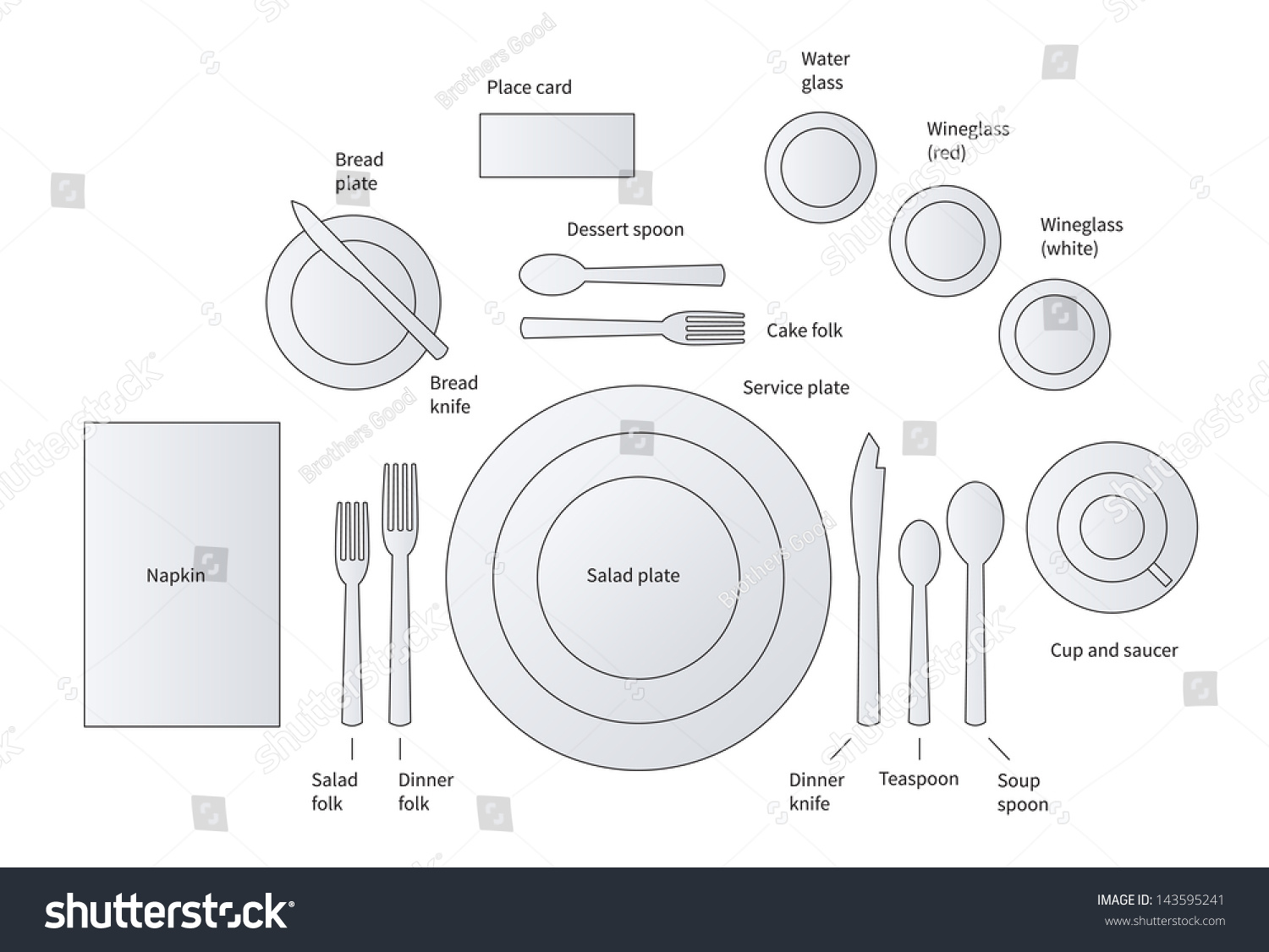 Formal Place Setting Soup Salad Courses Stock Vector 143595241 ...