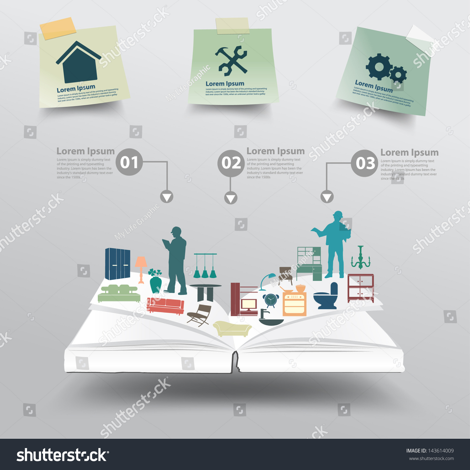 Book With Home Appliances Icons Home Improvement And Decoration Service Concept Idea Vector Illustration