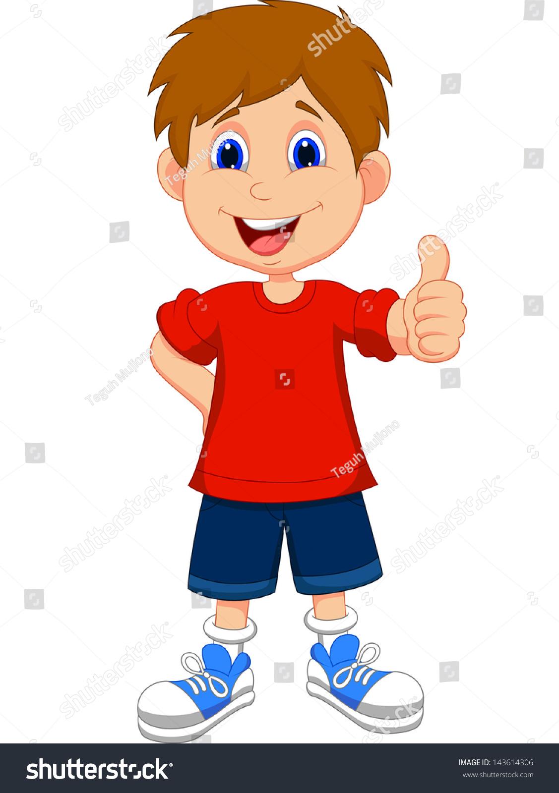 Cartoon boy giving you thumbs up stock photo 143614306 - Cartoon boy wallpaper ...