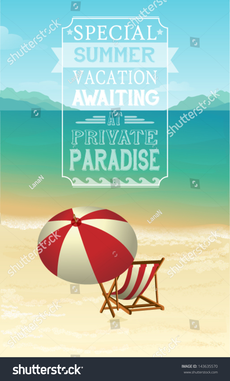 Advertisement Summer Holidays Seaside Vacation Poster Stock Vector ...