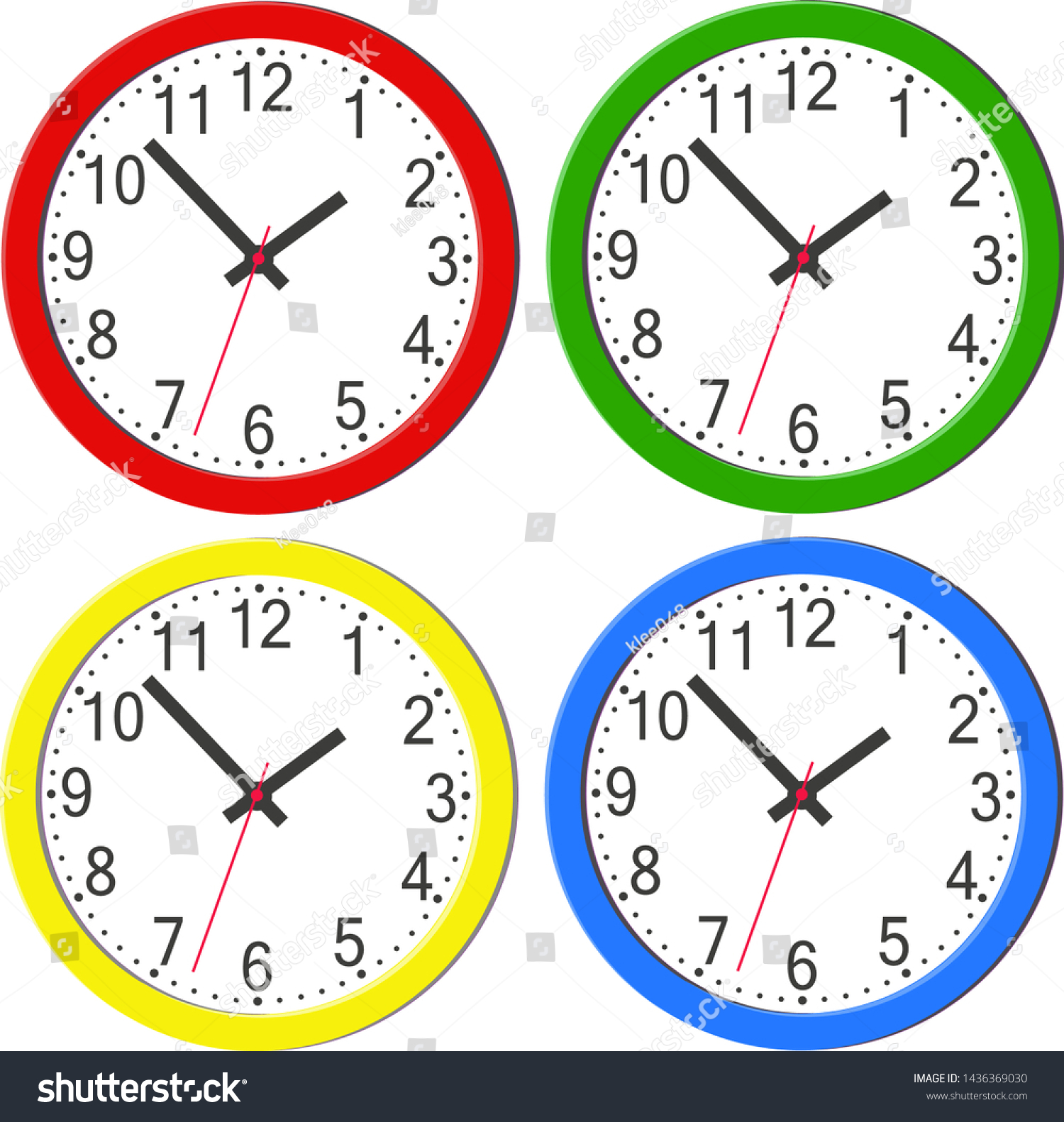 Colorful Round Wall Clocks Modern Design Stock Vector Royalty Free 1436369030