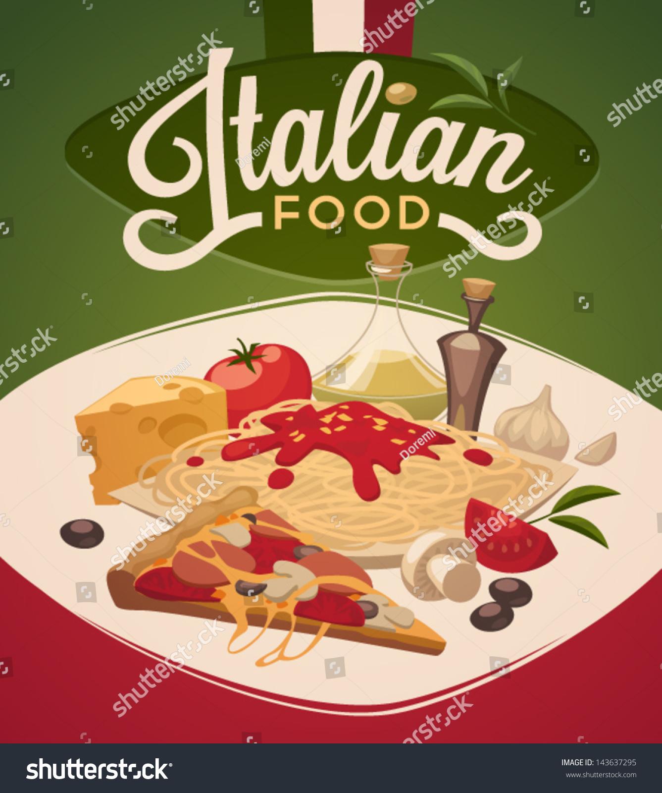 Italian Food Stock Vector Illustration 143637295 ...