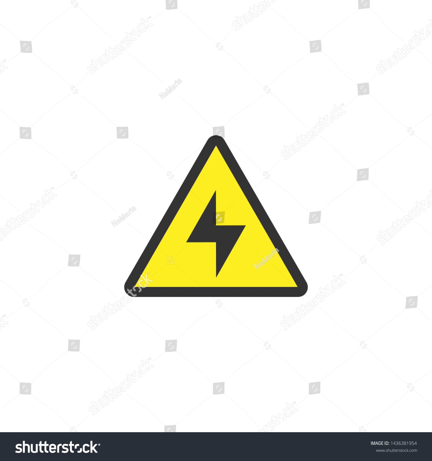 Black Lightning Bolt Yellow Triangle Warning Stock Vector Royalty Free 1436381954