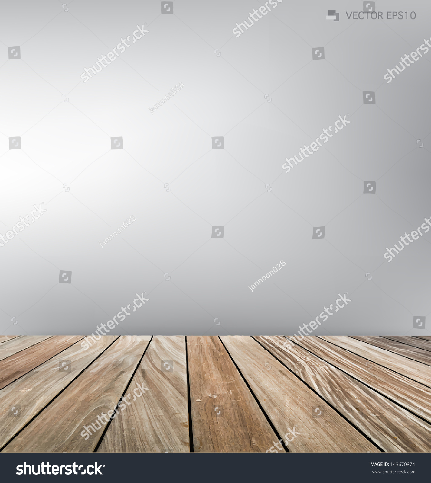 empty room and wood floor vector