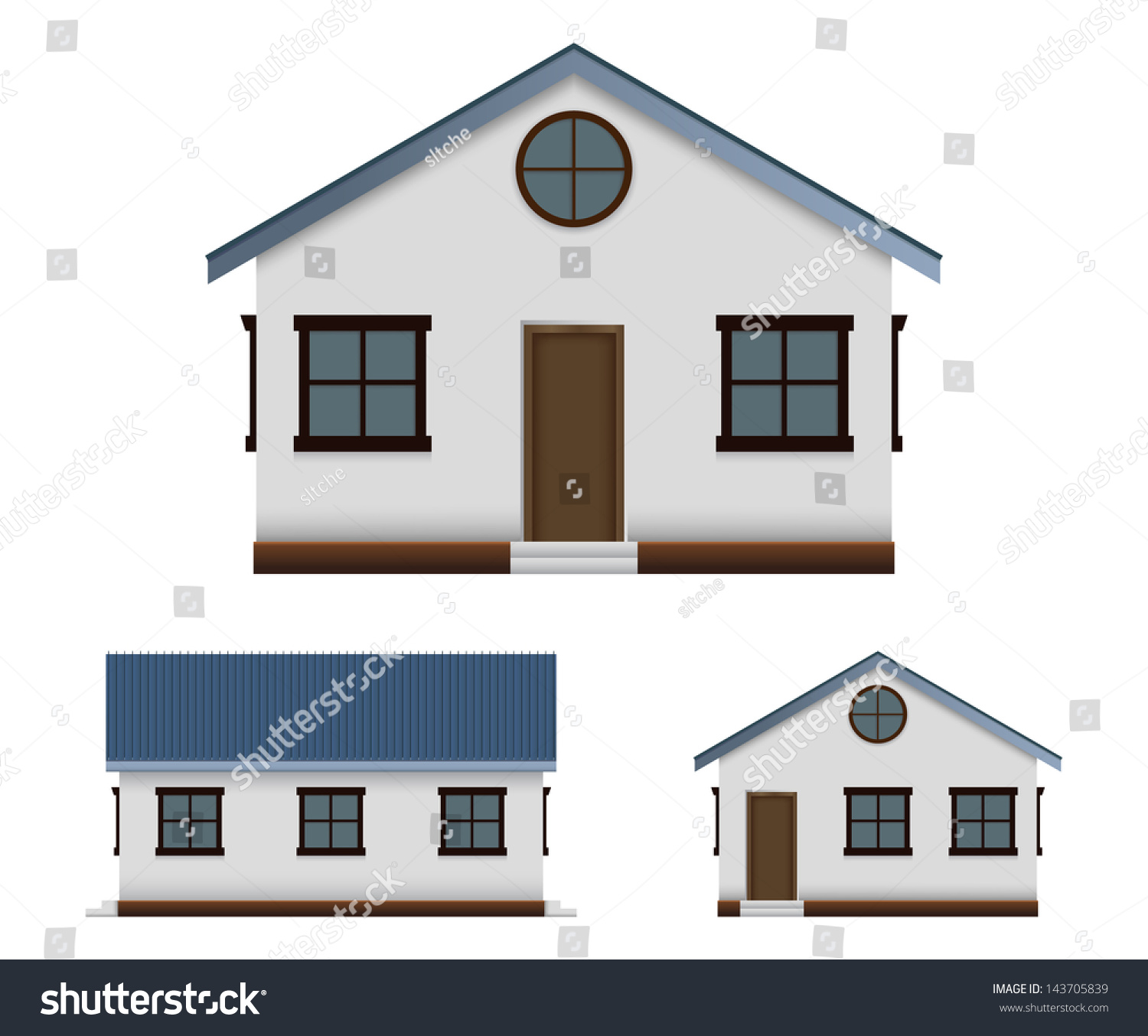 House vector image set three point stock vector 143705839 for Design of home front side