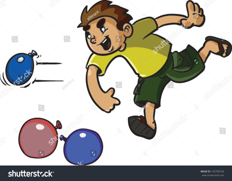 Cute Kids Throwing Water Balloons Vector Stock Vektorgrafik
