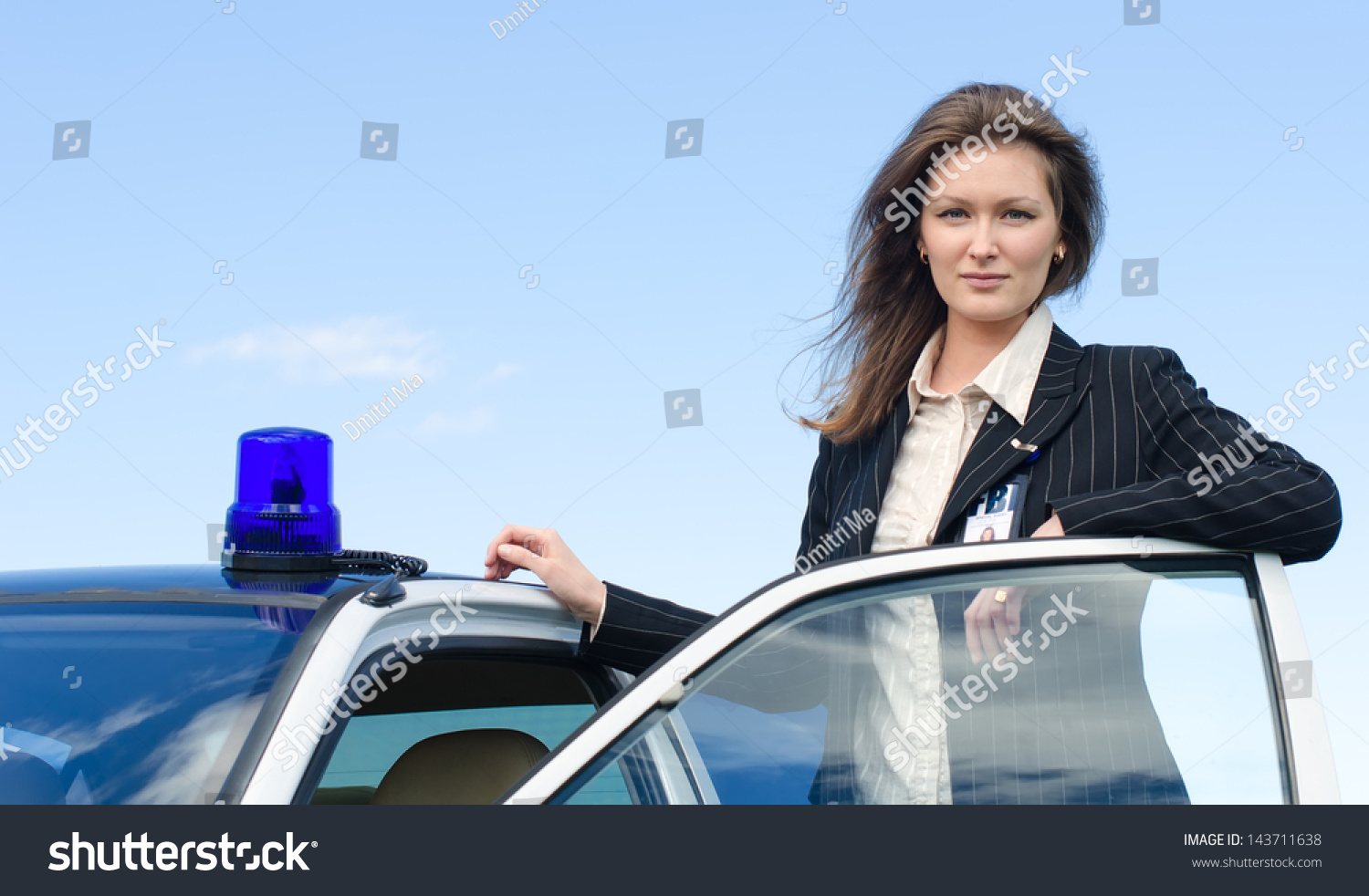 Young Female Fbi Agent Standing Near Stock Photo 143711638