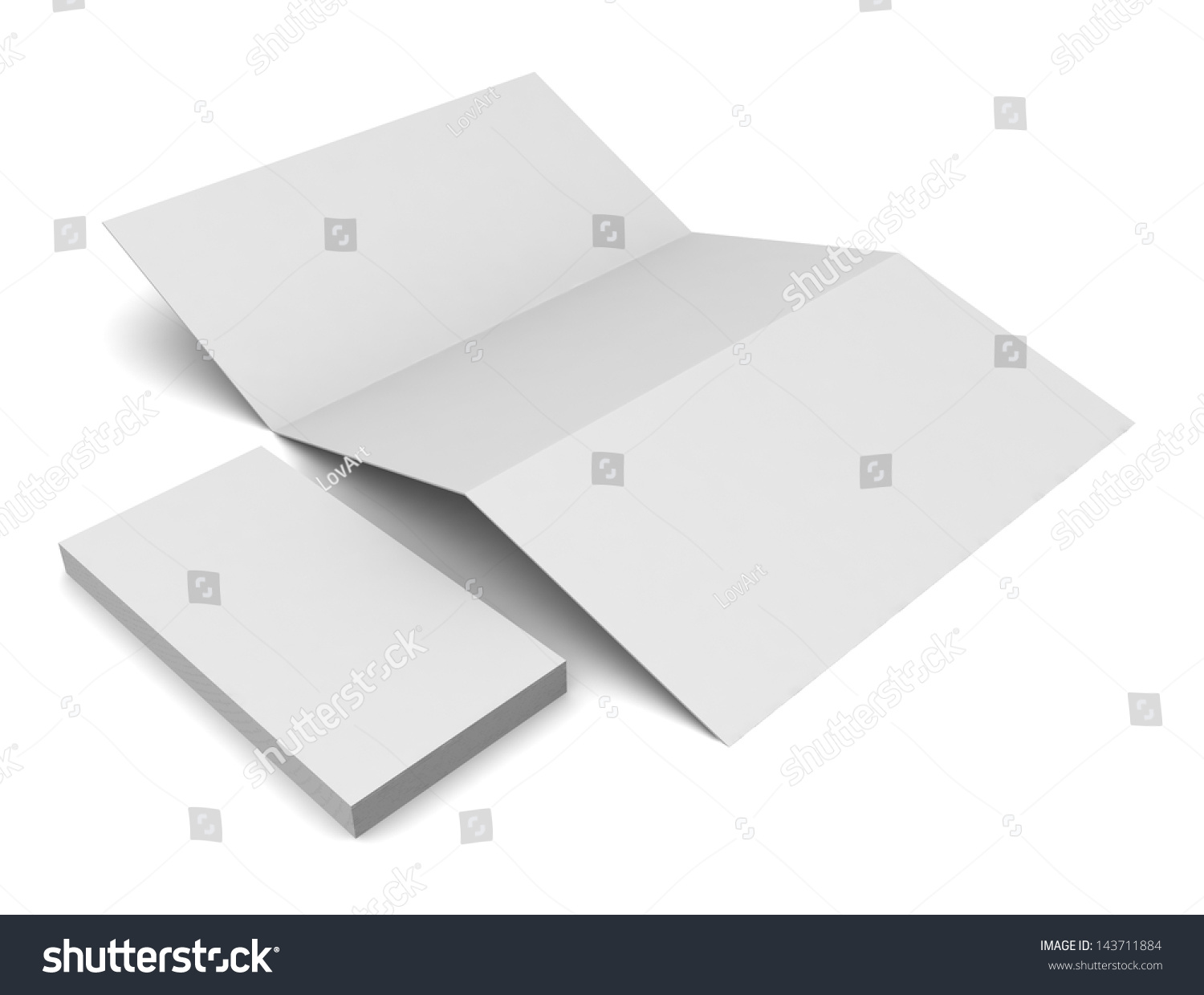 Blank tri fold brochure business card stock illustration 143711884 blank tri fold brochure and business card isolated on white wajeb Images