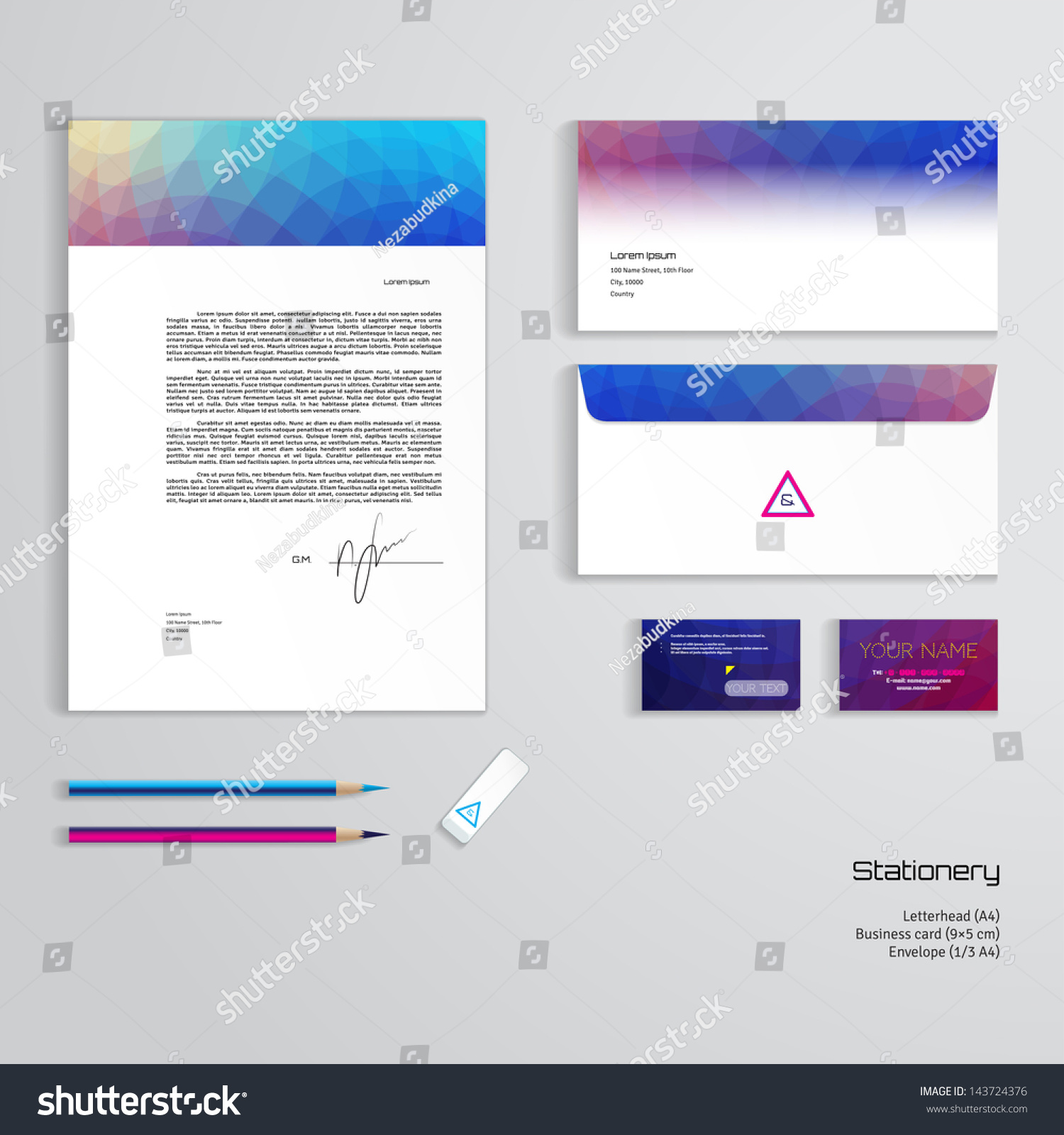 vector identity templates multicolored geometric pattern stock